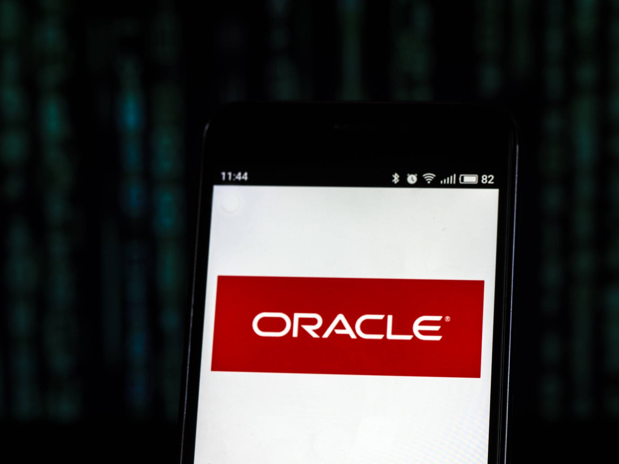 Oracle Corporation logo seen displayed on smart phone.