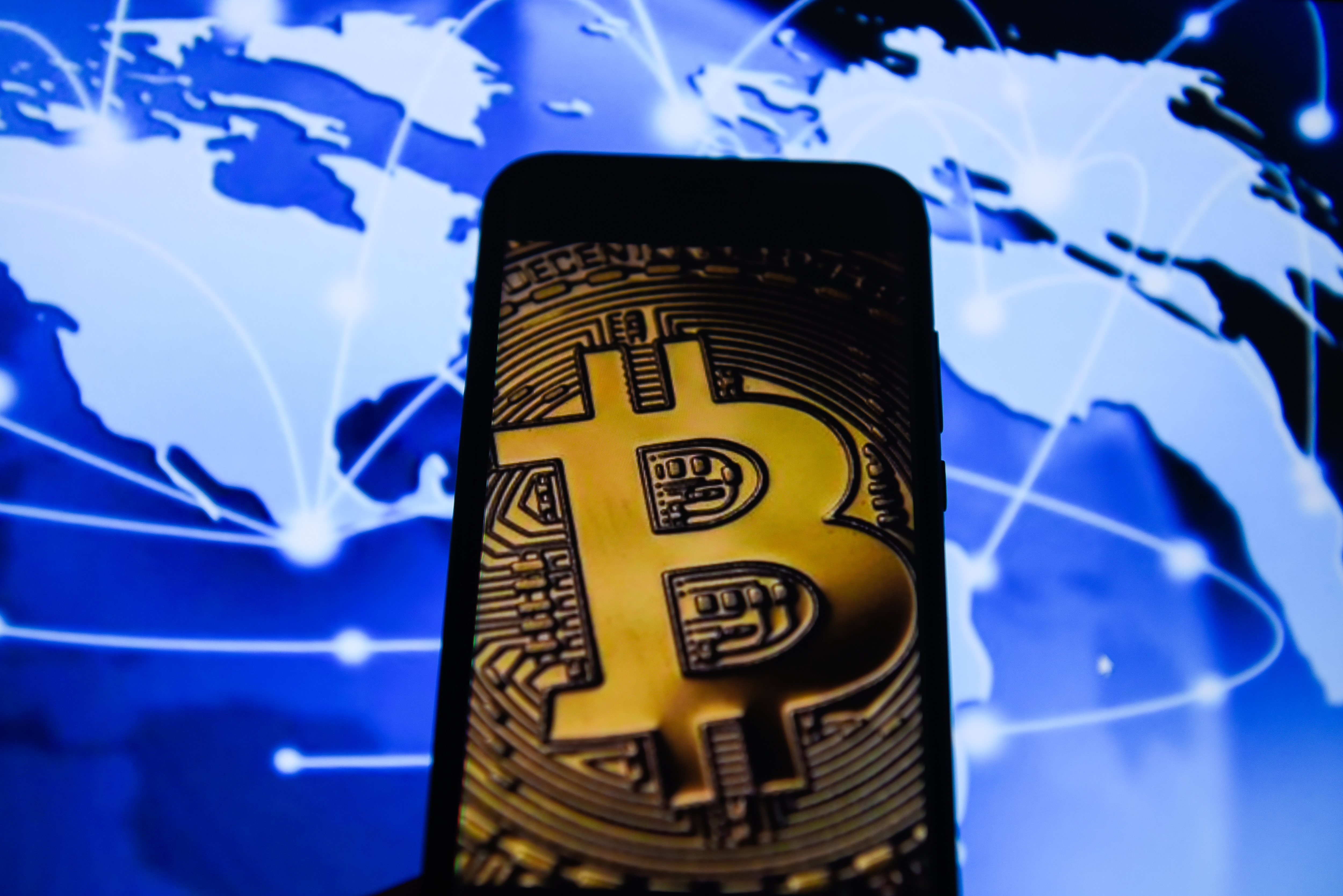 Bitcoin is seen on an android mobile phone