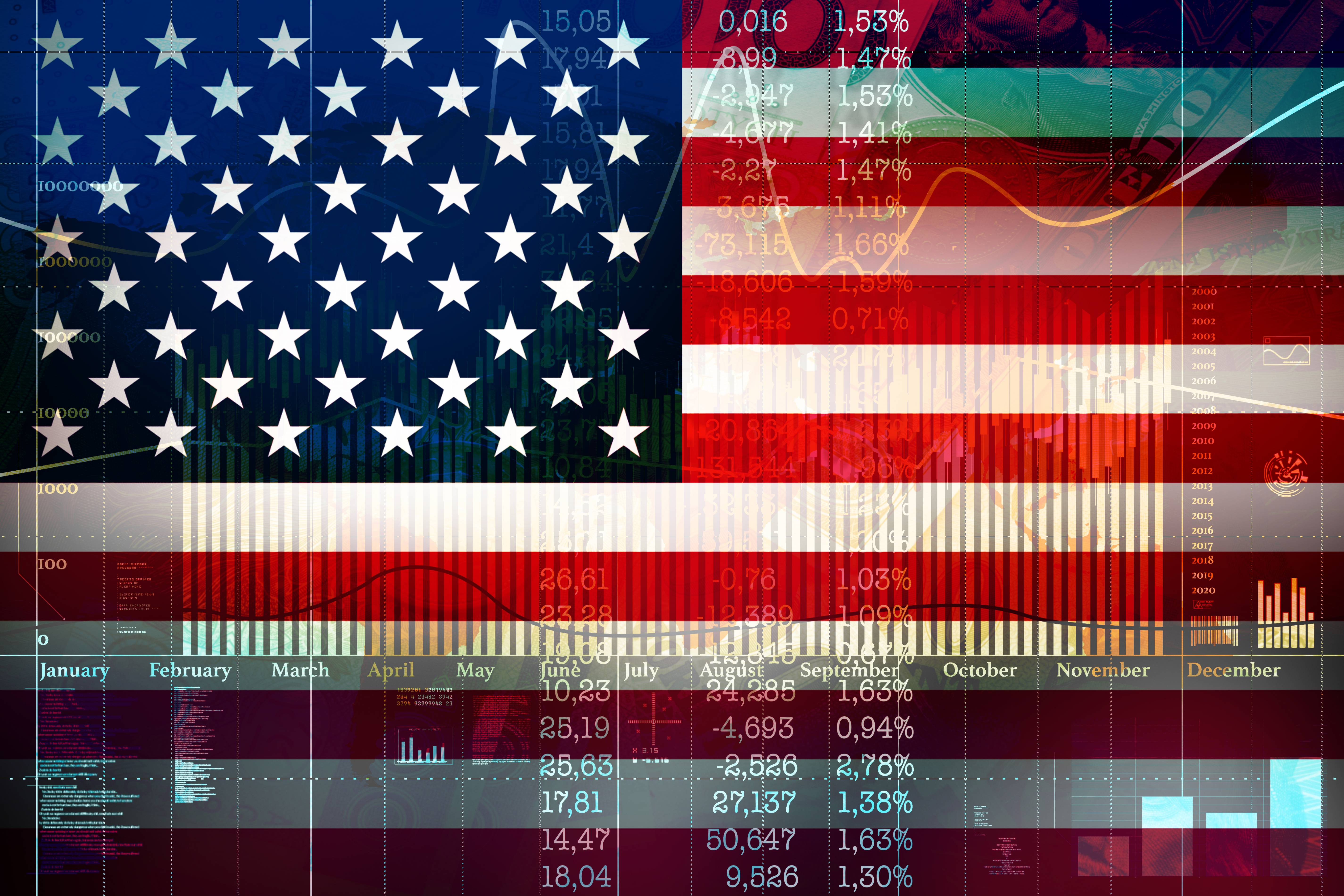 Financial concept of growth on the American Stock Exchange.