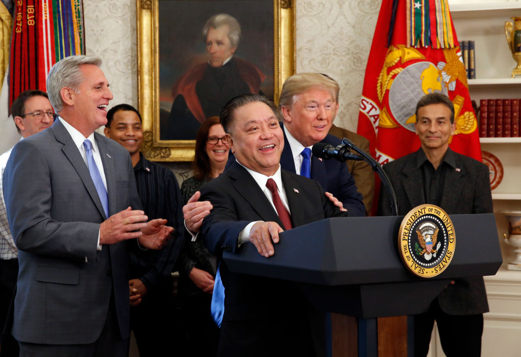 Broadcom CEO Hock Tan spoke alongside President Donald Trump as Tan announces the repatriation of his company's headquarters to the U.S. from Singapore. (Photo by Martin H. Simon - Pool/Getty Images)