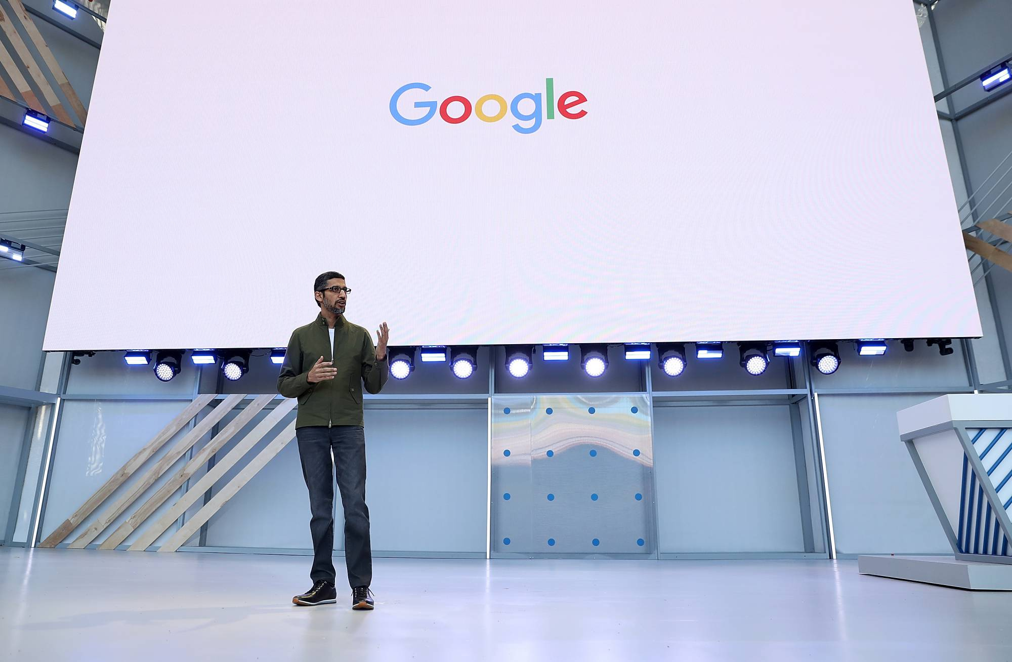Google CEO Sundar Pichai plays up hiring in the United States.