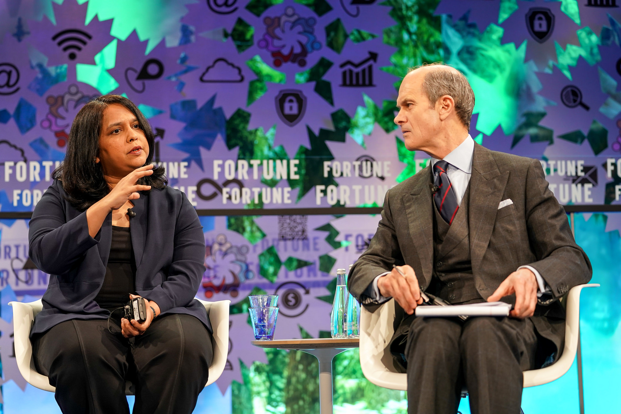 McKinsey's Anu Madgavkar (left) and Fortune's Geoff Calvin speak on stage at Fortune's Global Forum in Toronto.