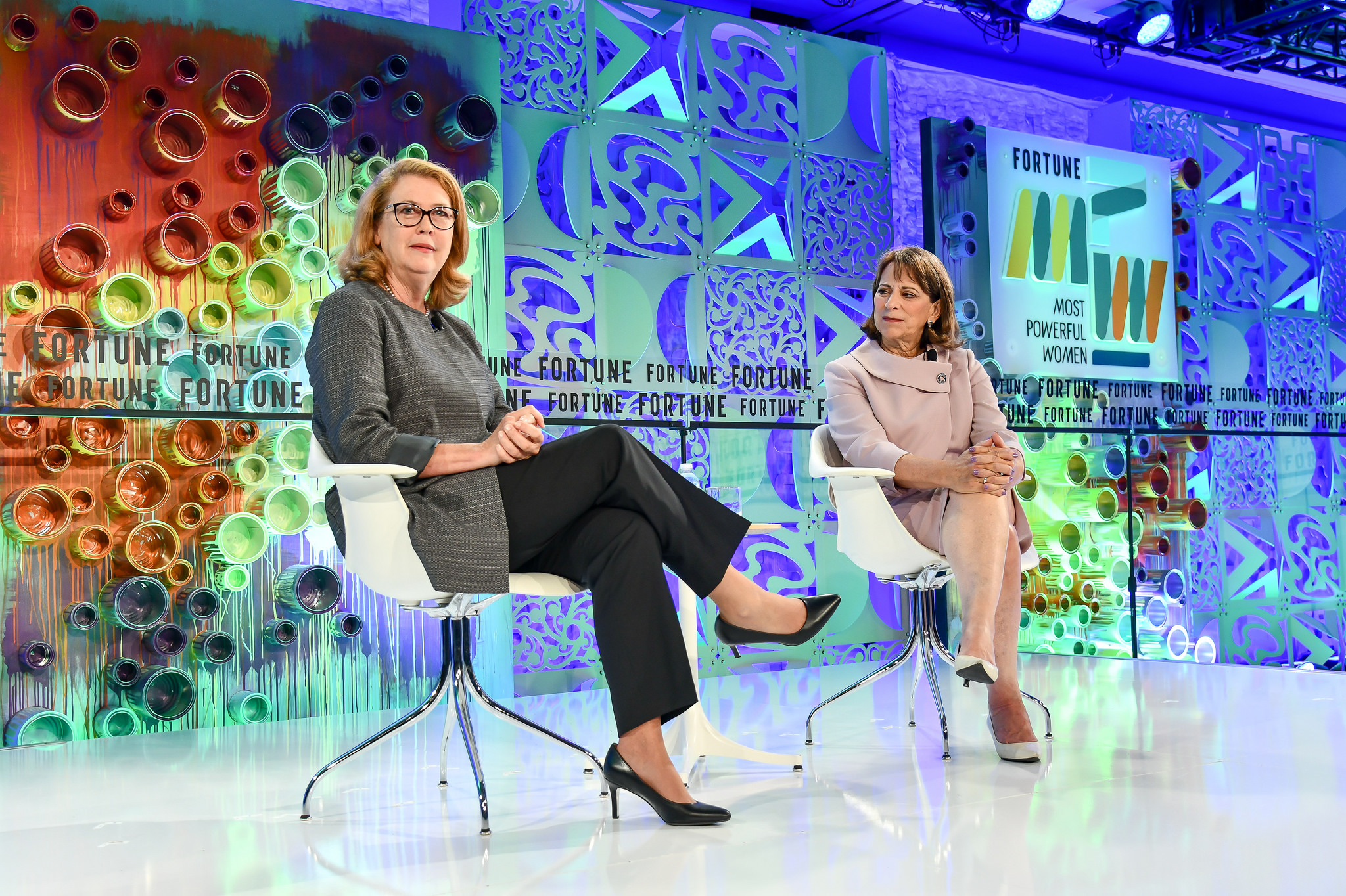 Jami Miscik (left), CEO of geopolitical consulting firm Kissinger Associates, said China and Russia pose the biggest threat to U.S. national security in a discussion with Lori Esposito Murray (right), adjunct senior fellow at the Council on Foreign Relations, at Fortune's MPW Summit in Laguna Niguel, California.