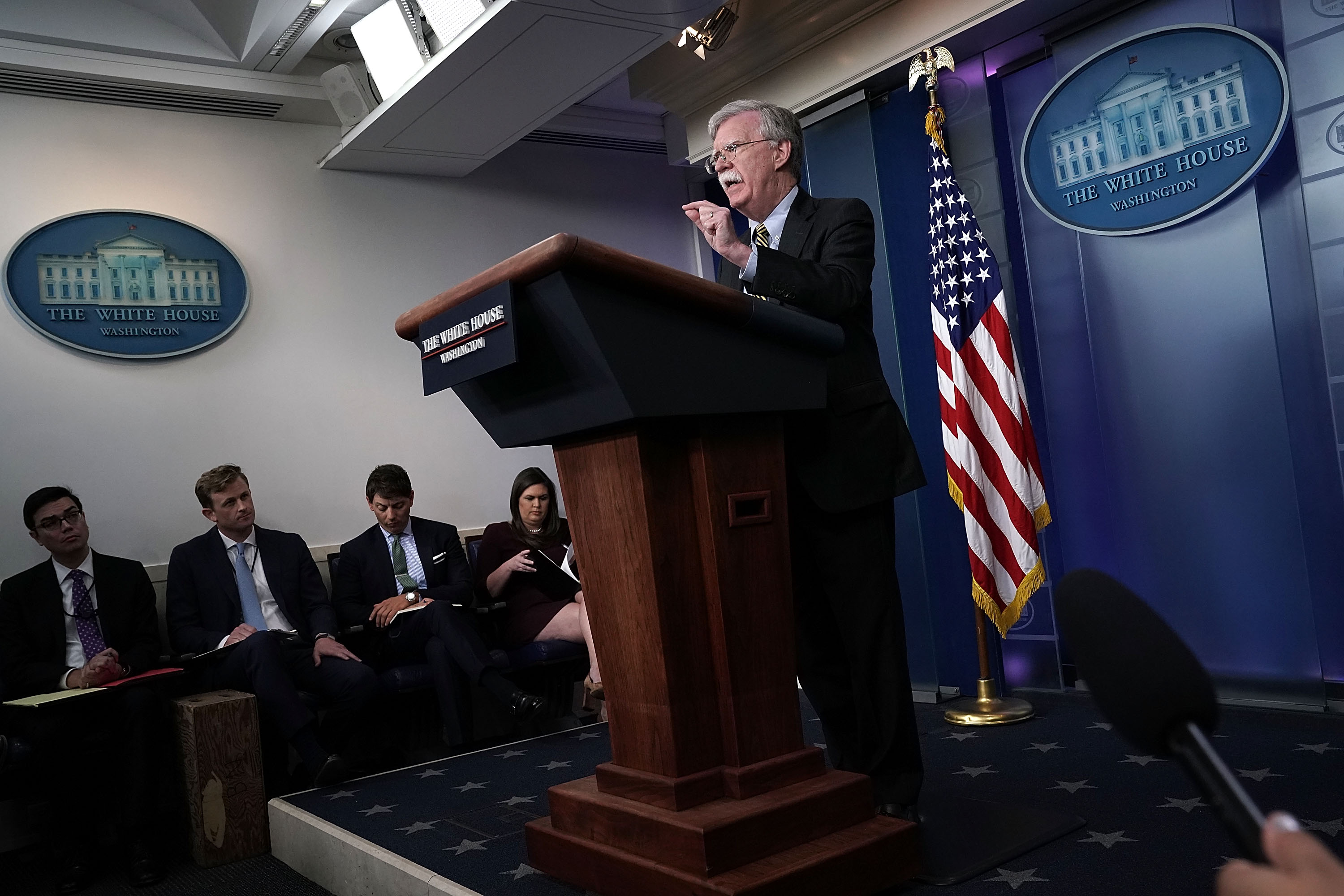 John Bolton Joins Sarah Sanders For Press Briefing At The White House