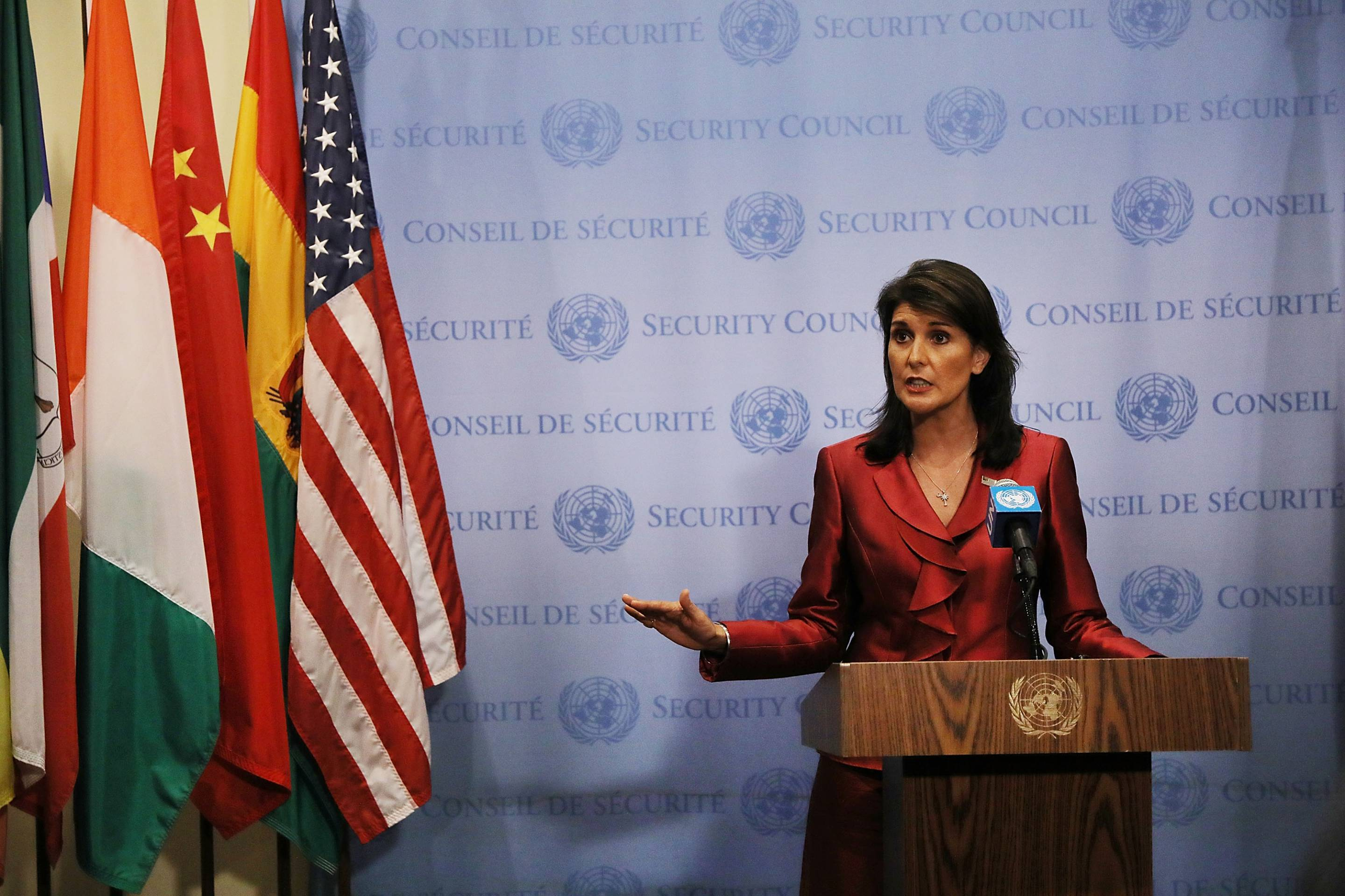 U.S. Ambassador To The United Nations Nikki Haley  Briefs The Media