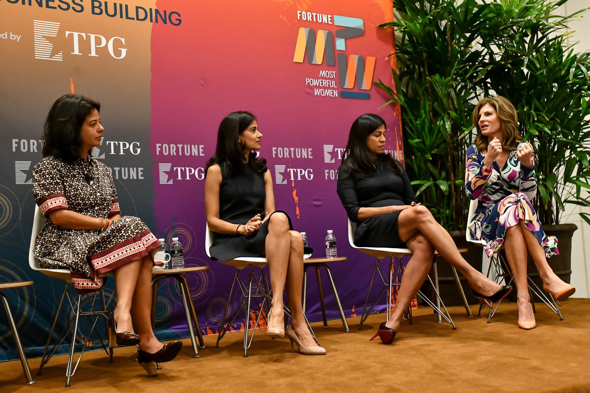 Maya Chorengel of TPG's The Rise Fund, Jennifer Morgan of SAP, Varsha Rao of Clover Health, and Lata Reddy of Prudential speak at Fortune's Most Powerful Women Summit on Oct. 2, 2018, in Laguna Niguel, Calif.