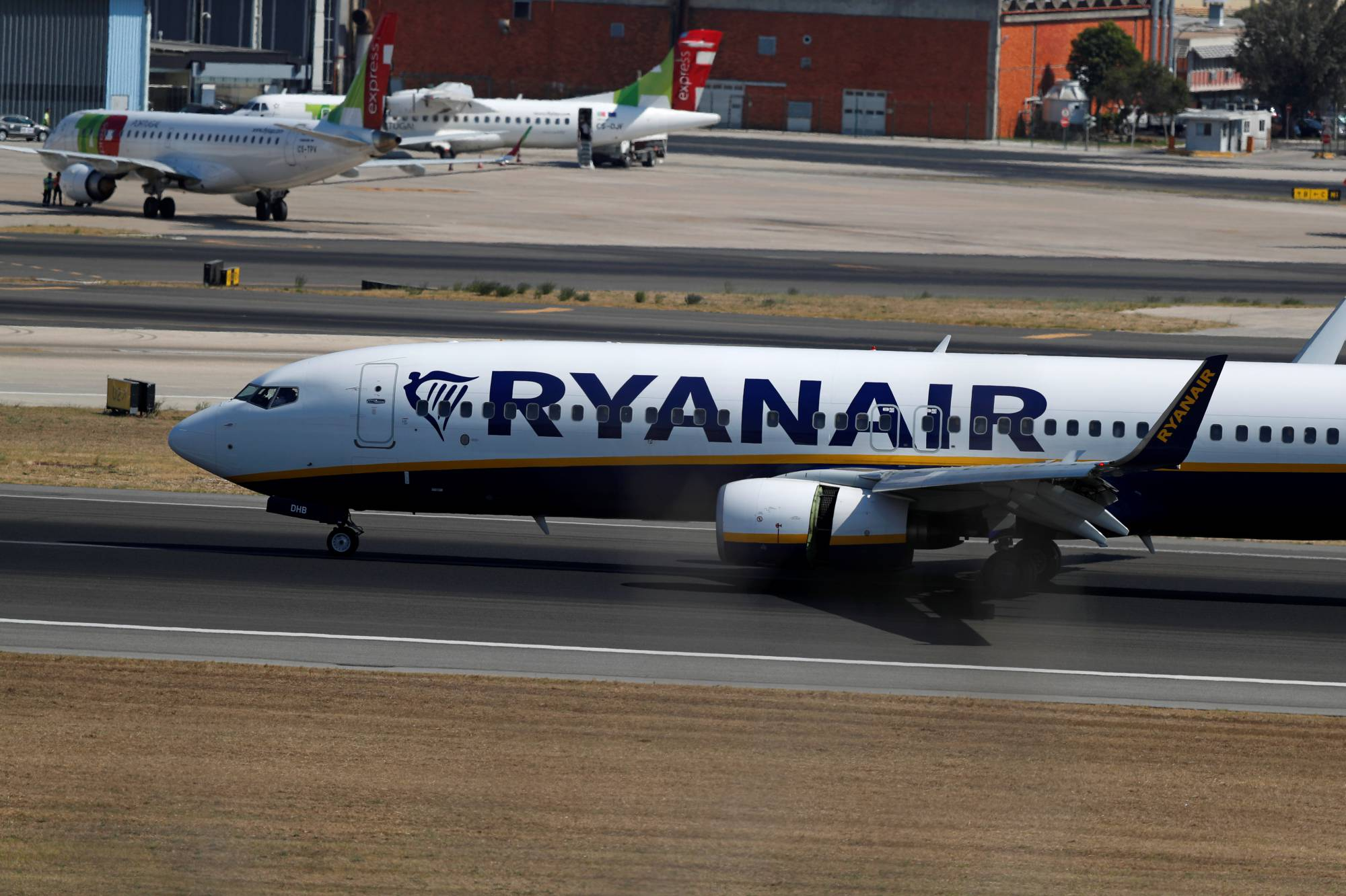 A Ryanair plane taxis at Lisbon's airport