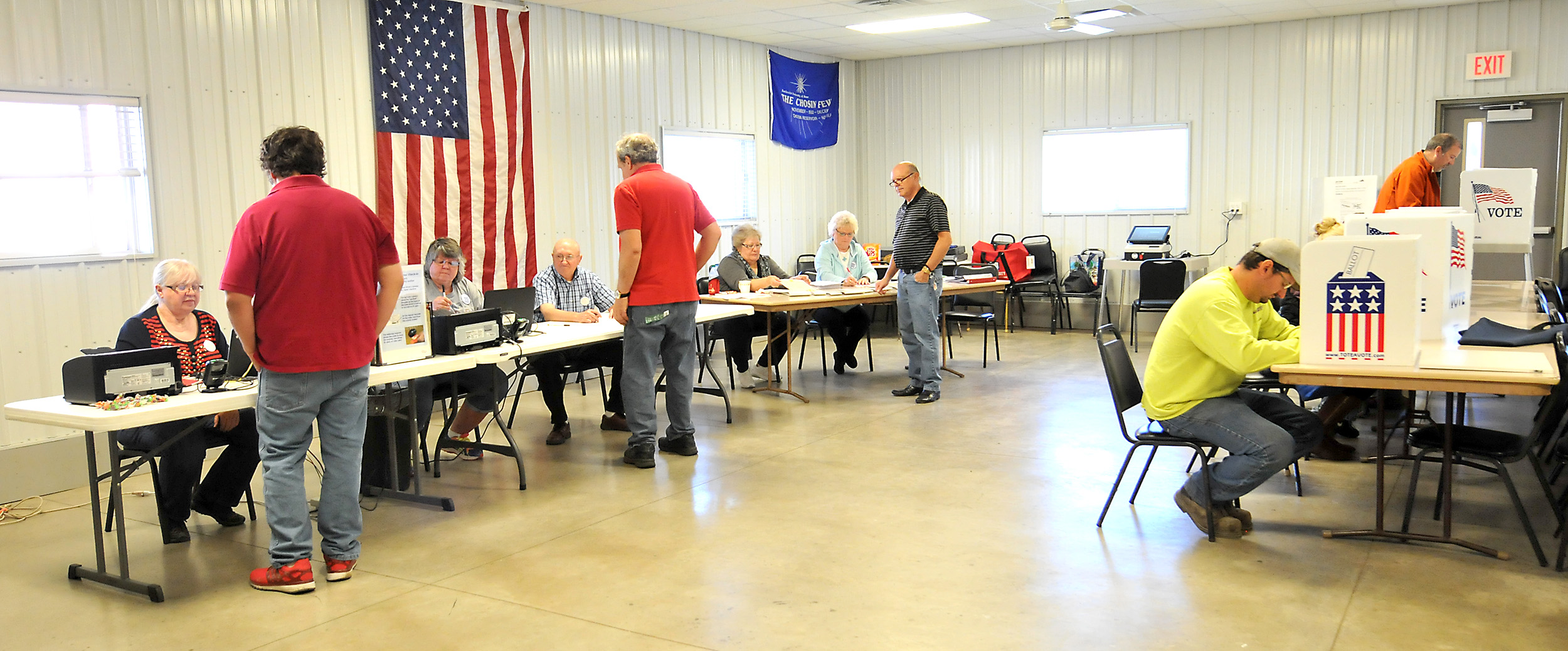 People vote at a polling place on Nov. 8, 2016, in Redfield, Iowa.