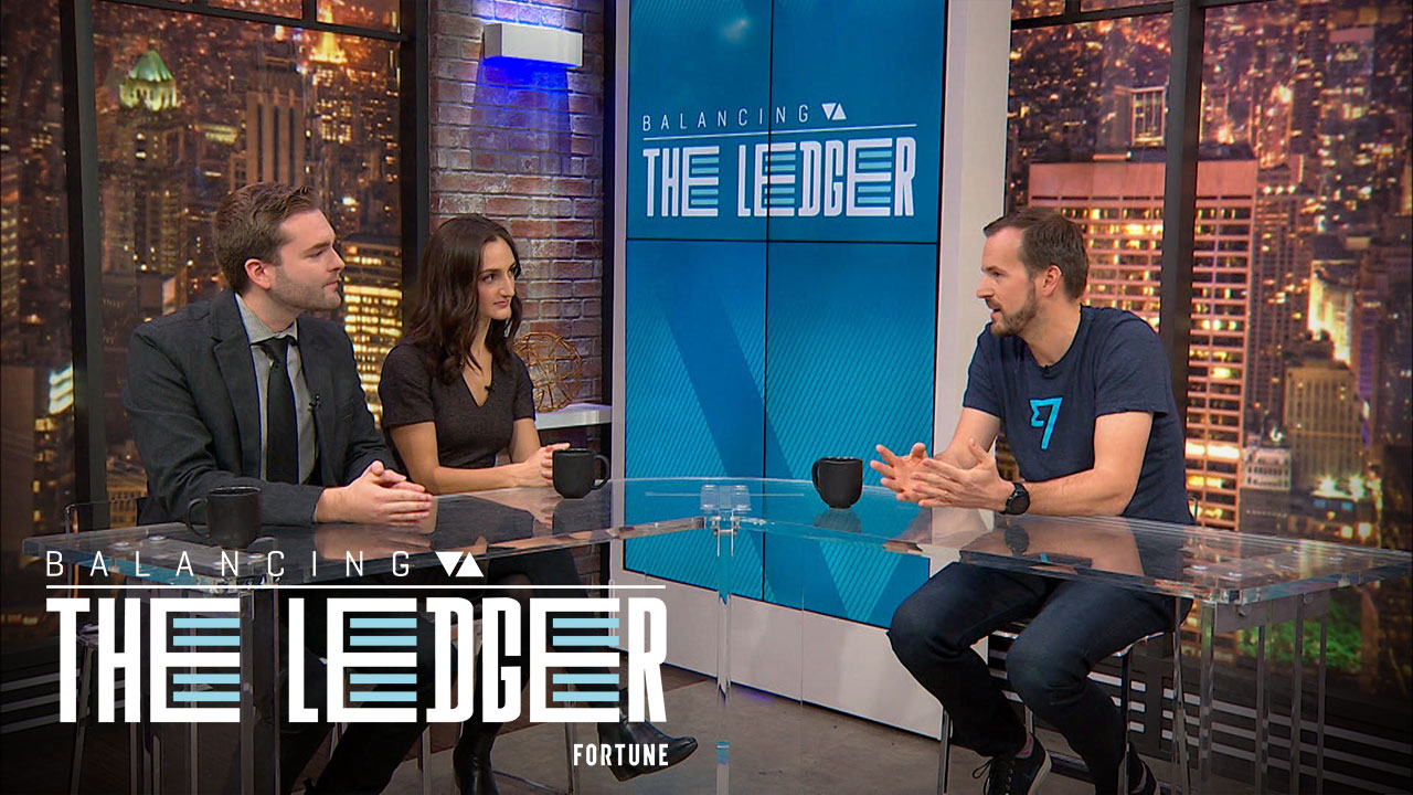 """Taavet Hinrikus (right), cofounder and chairman of TransferWise, joins Fortune's Robert Hackett and Jen Wieczner on """"Balancing the Ledger."""""""