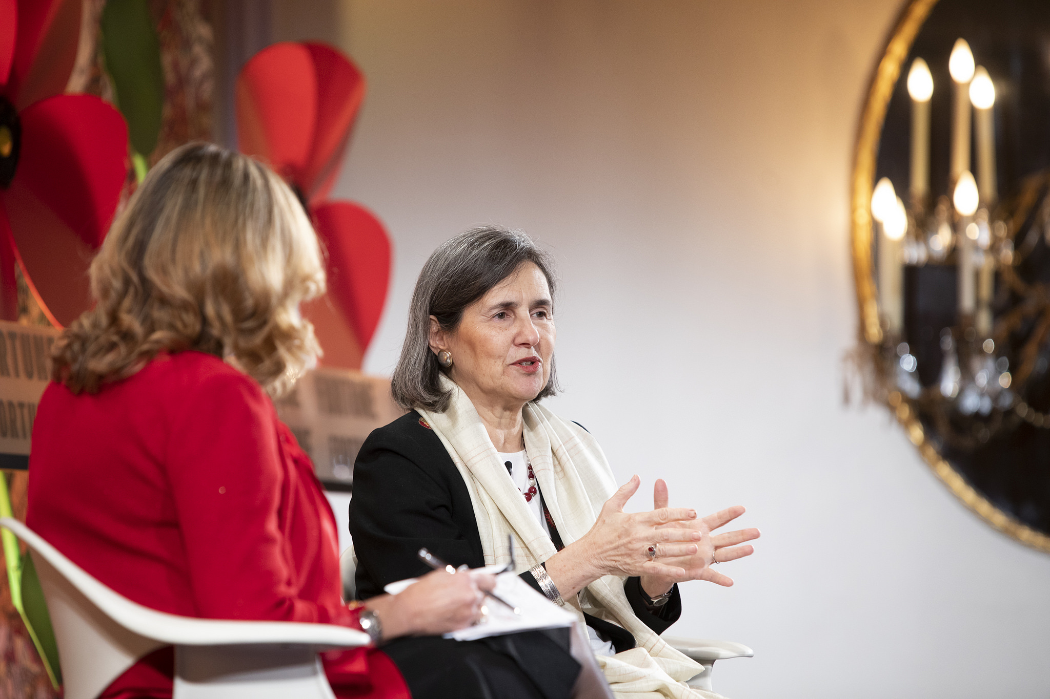 First lady of Afghanistan Rula Ghani speaks with Fortune's Nina Easton at the Fortune Most Powerful Women International conference in Montreal, Canada on Nov. 5, 2018.