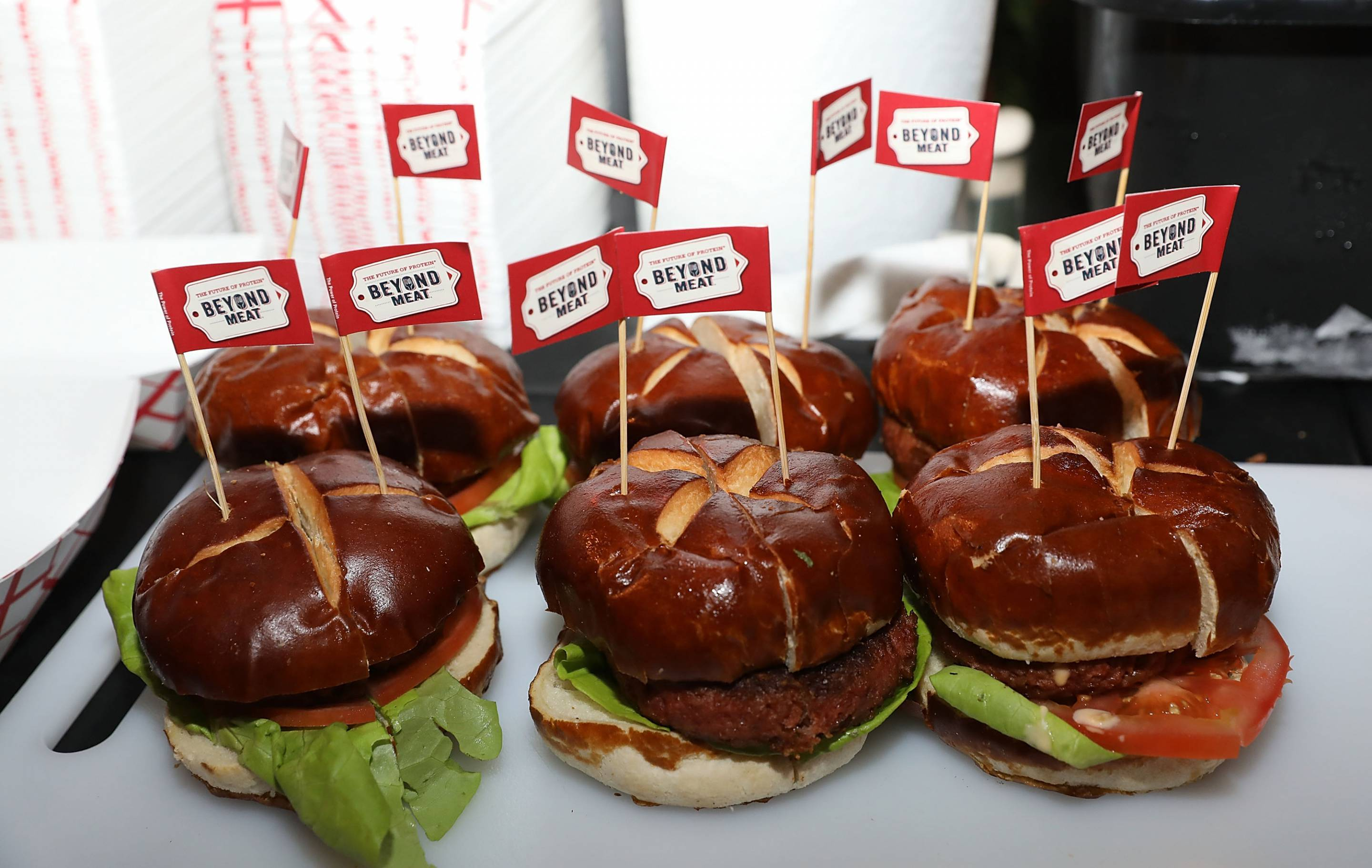 Beyond Meat plant-based burgers are served at the South Beach Wine & Food Festival on Feb. 24, 2017 in Miami Beach, Fla.