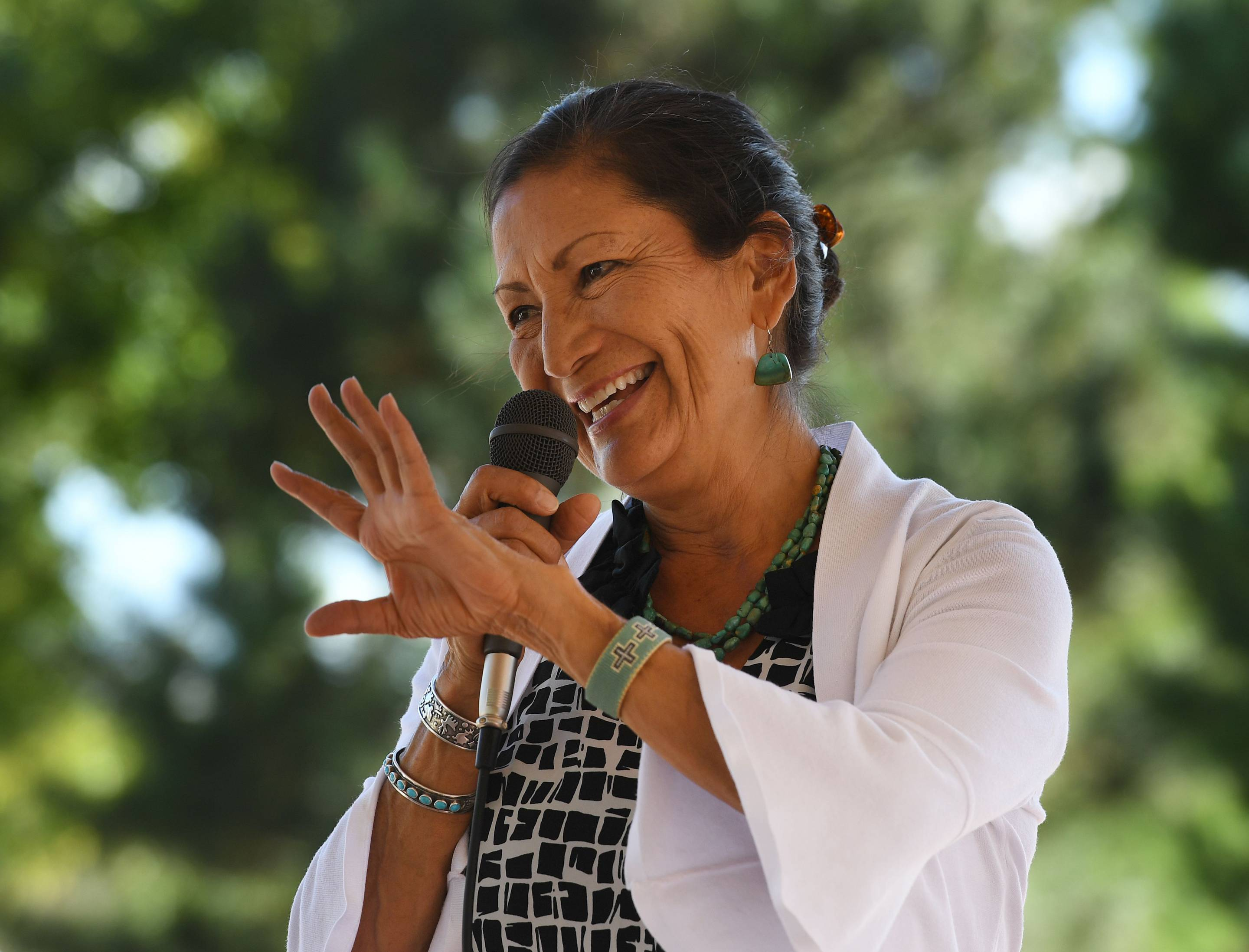 Deb Haaland, one of the first two Native American women elected to Congress, speaks in Albuquerque, N.M., on Oct. 1, 2018.