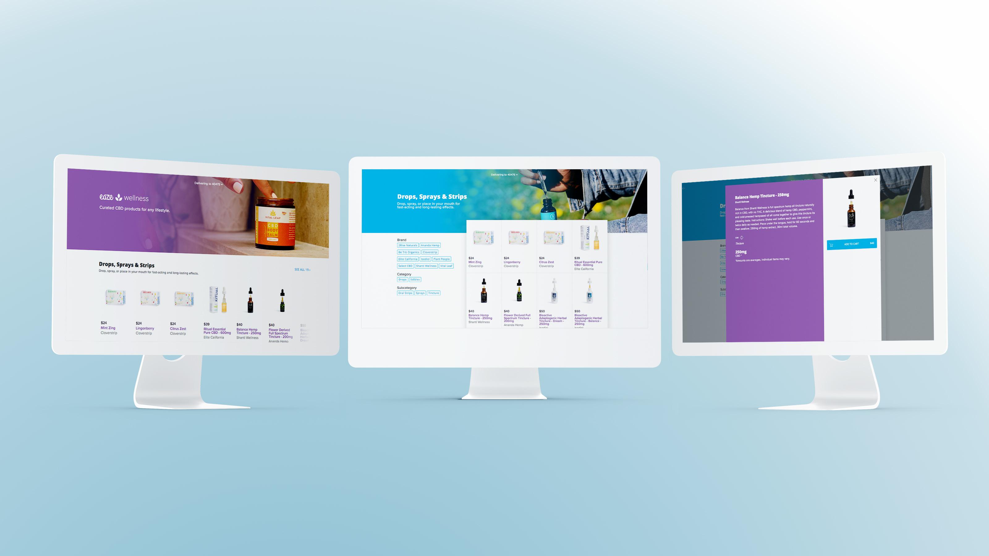 photo of website for Eaze Wellness, a CBD platform