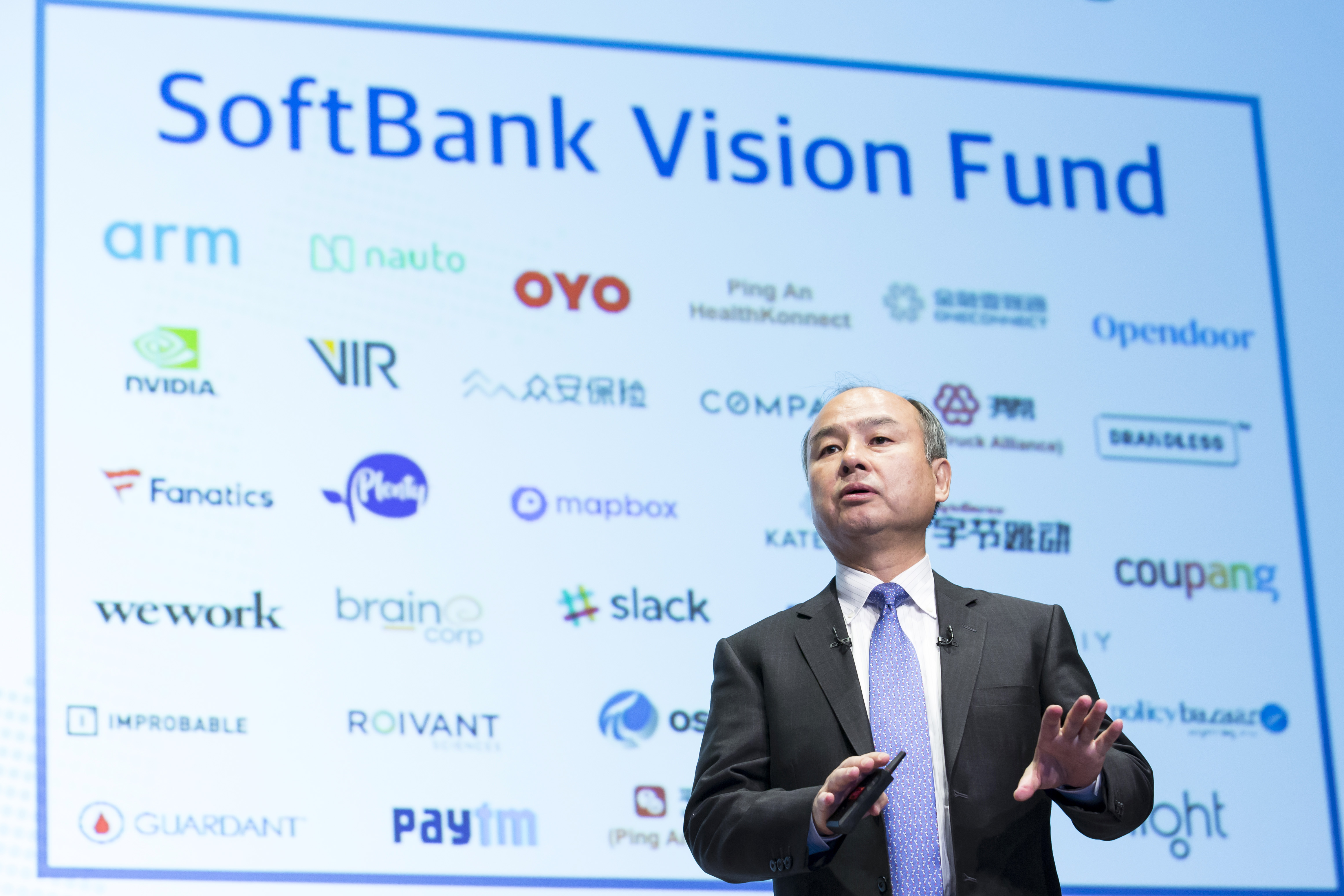 Softbank Chairman Masayoshi Son Speaks To The Press