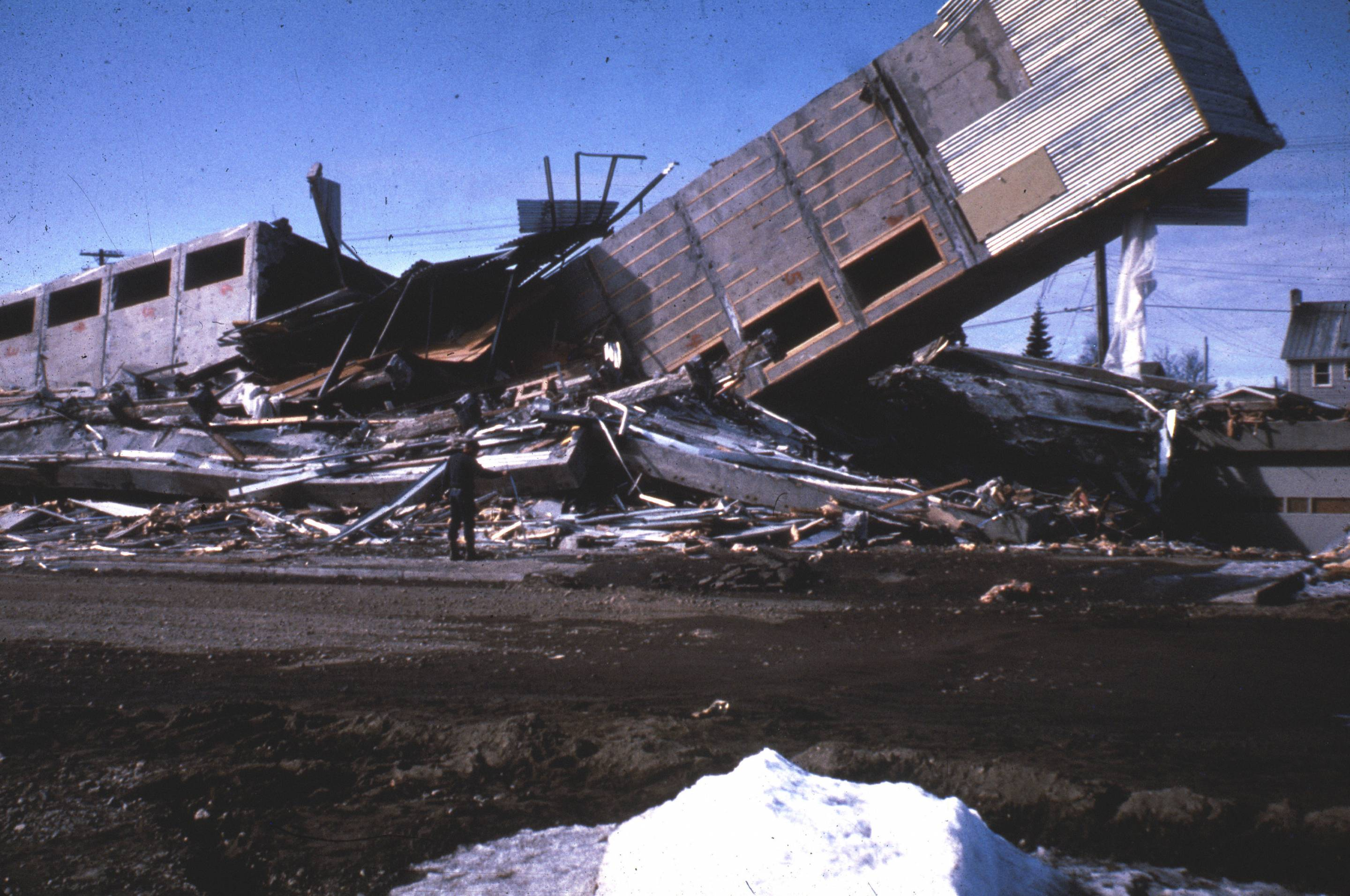 Alaska Earthquake March 27, 1964, The Four Seasons Apartments In Anchorage Was A Six-Story Lift-Slab Reinforced Concrete Building Which Cracked To The Ground During The Earthquake, The Building Was Under Construction, But Structurally Completed, At T