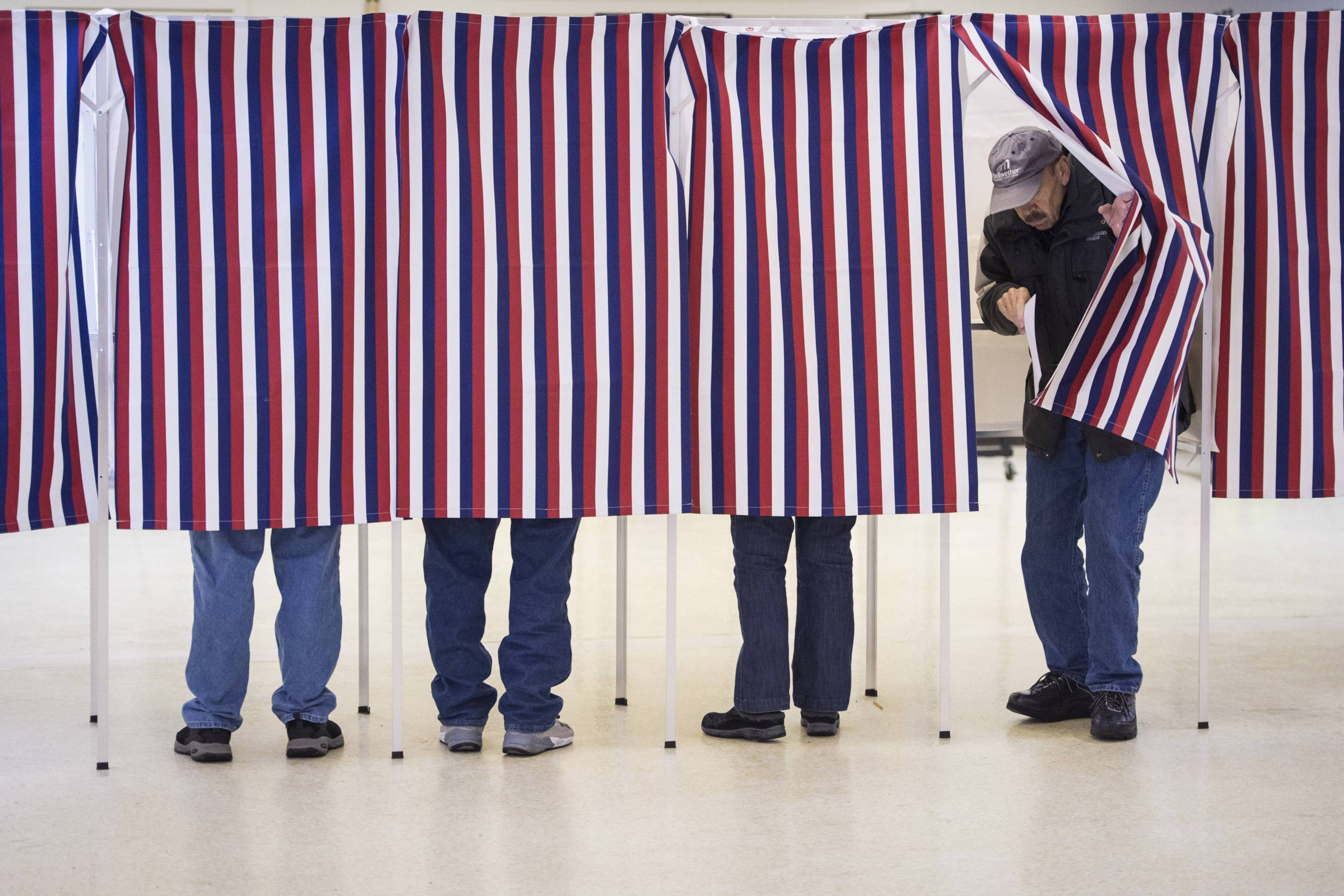 Primary voting in New Hampshire.