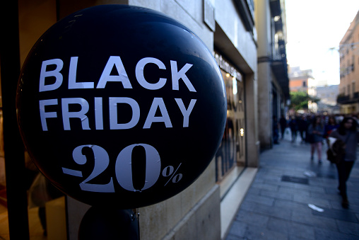 Black Friday balloon offering discounts on purchases