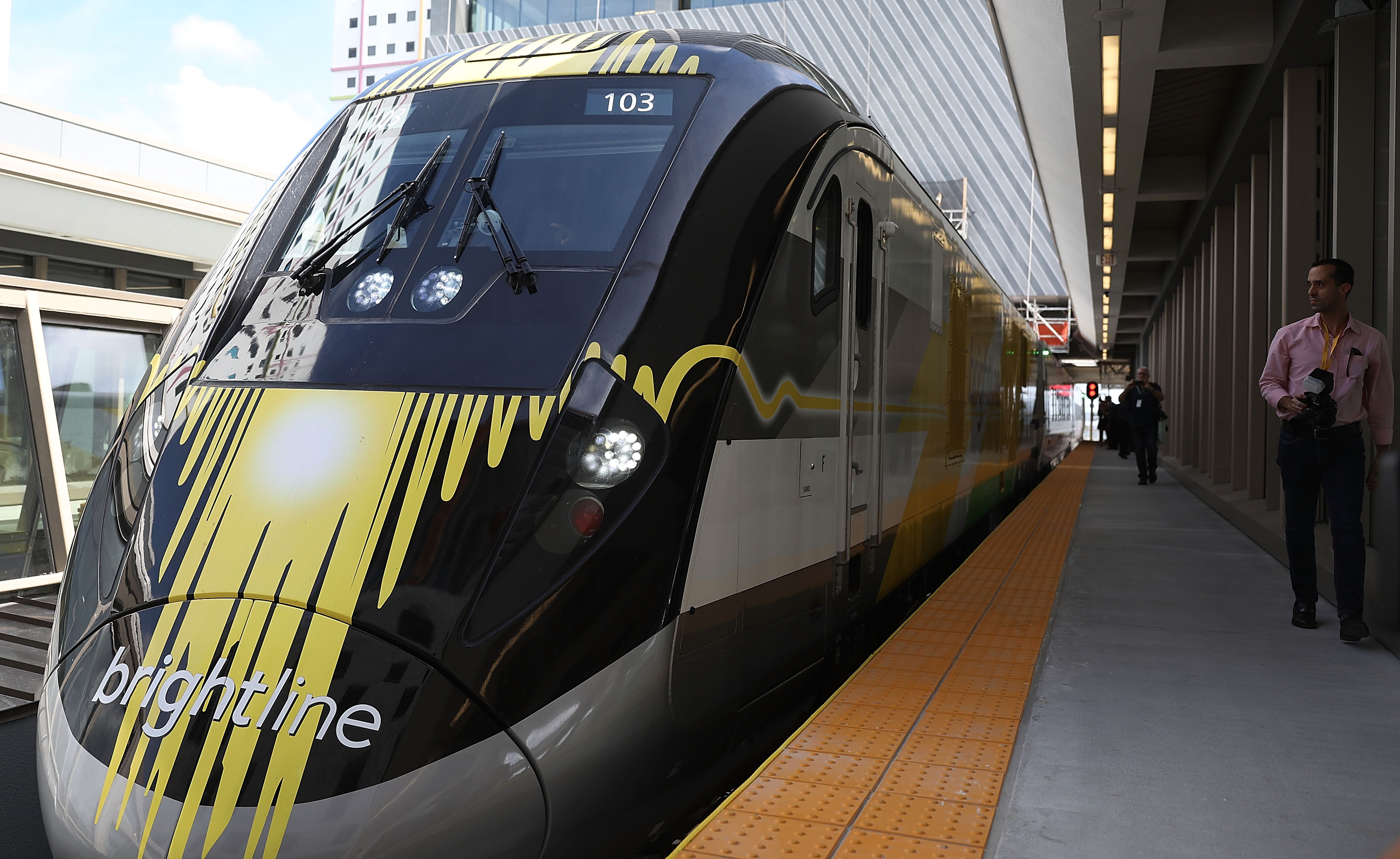 The Brightline train waits at the new MiamiCentral transit terminal on May 11, 2018.