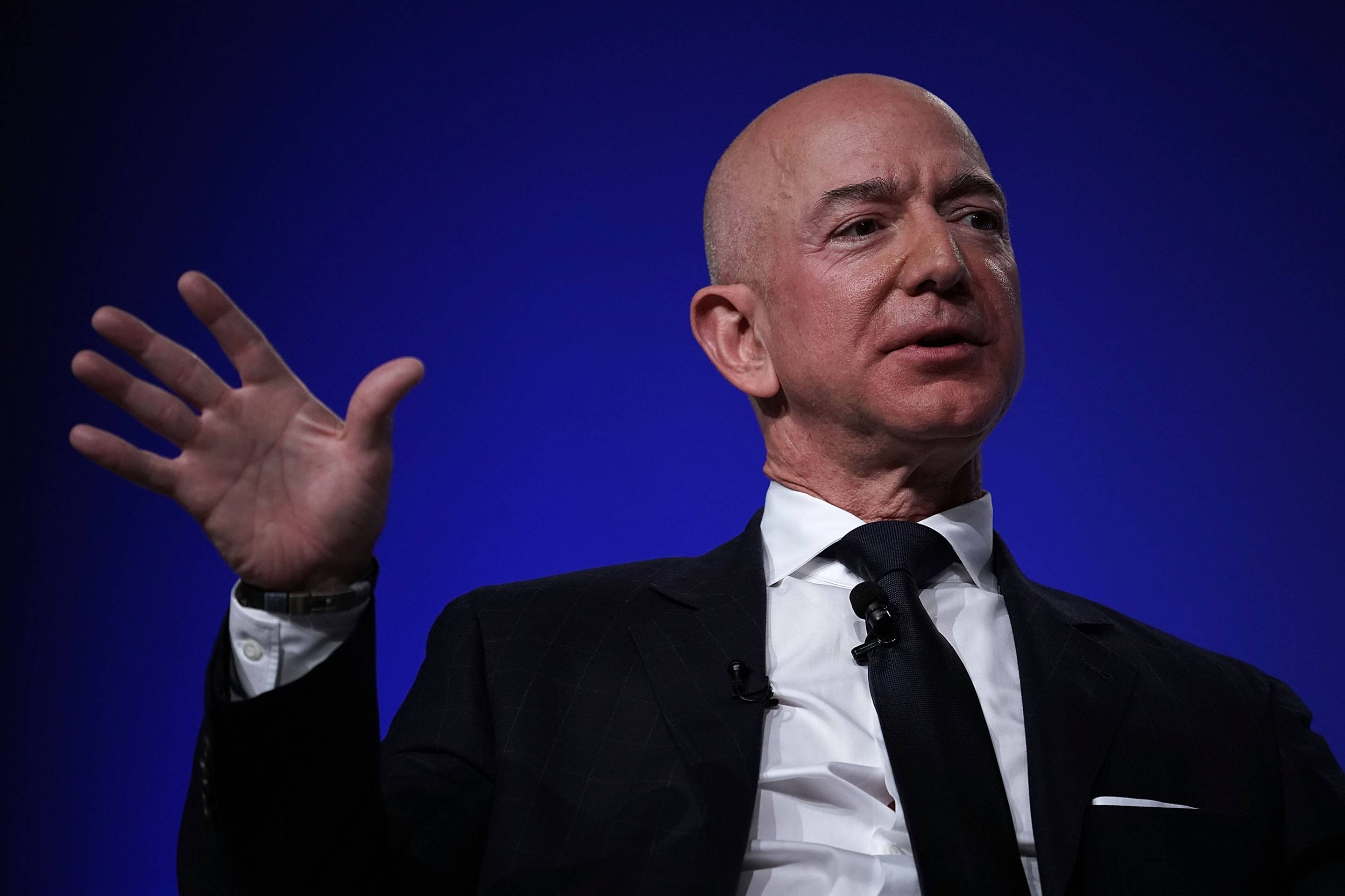 Amazon CEO Jeff Bezos speaks at an event hosted by the Air Force Association on Sept. 19, 2018 in National Harbor, Md.