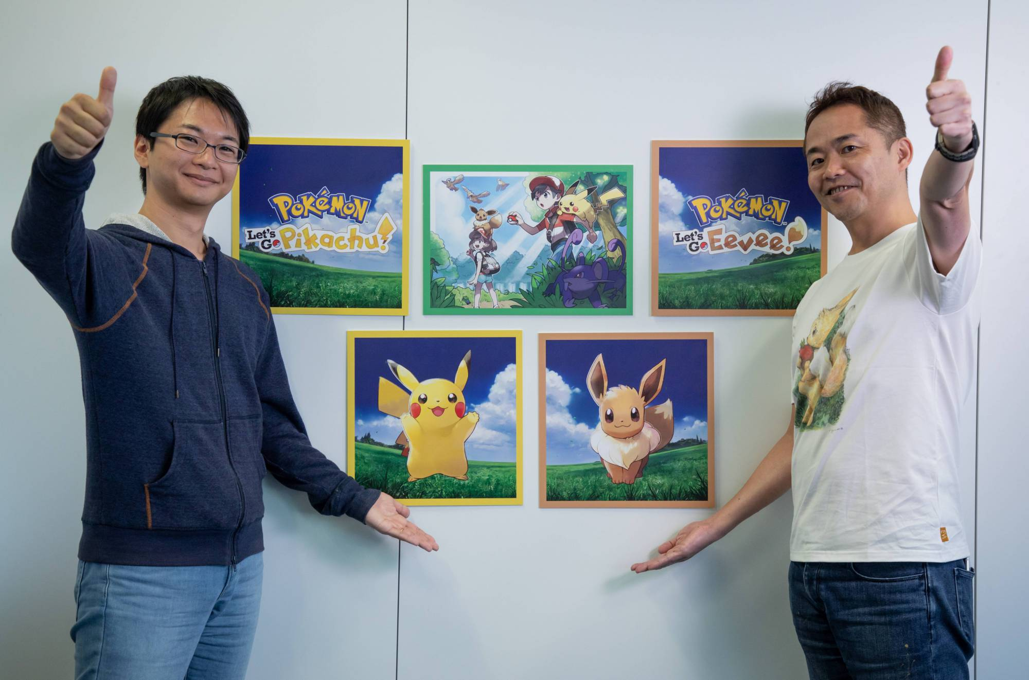 Kensaku Nabana (left), lead environment designer for Pokémon: Let's Go, and Junichi Masuda, director of Pokémon: Let's Go