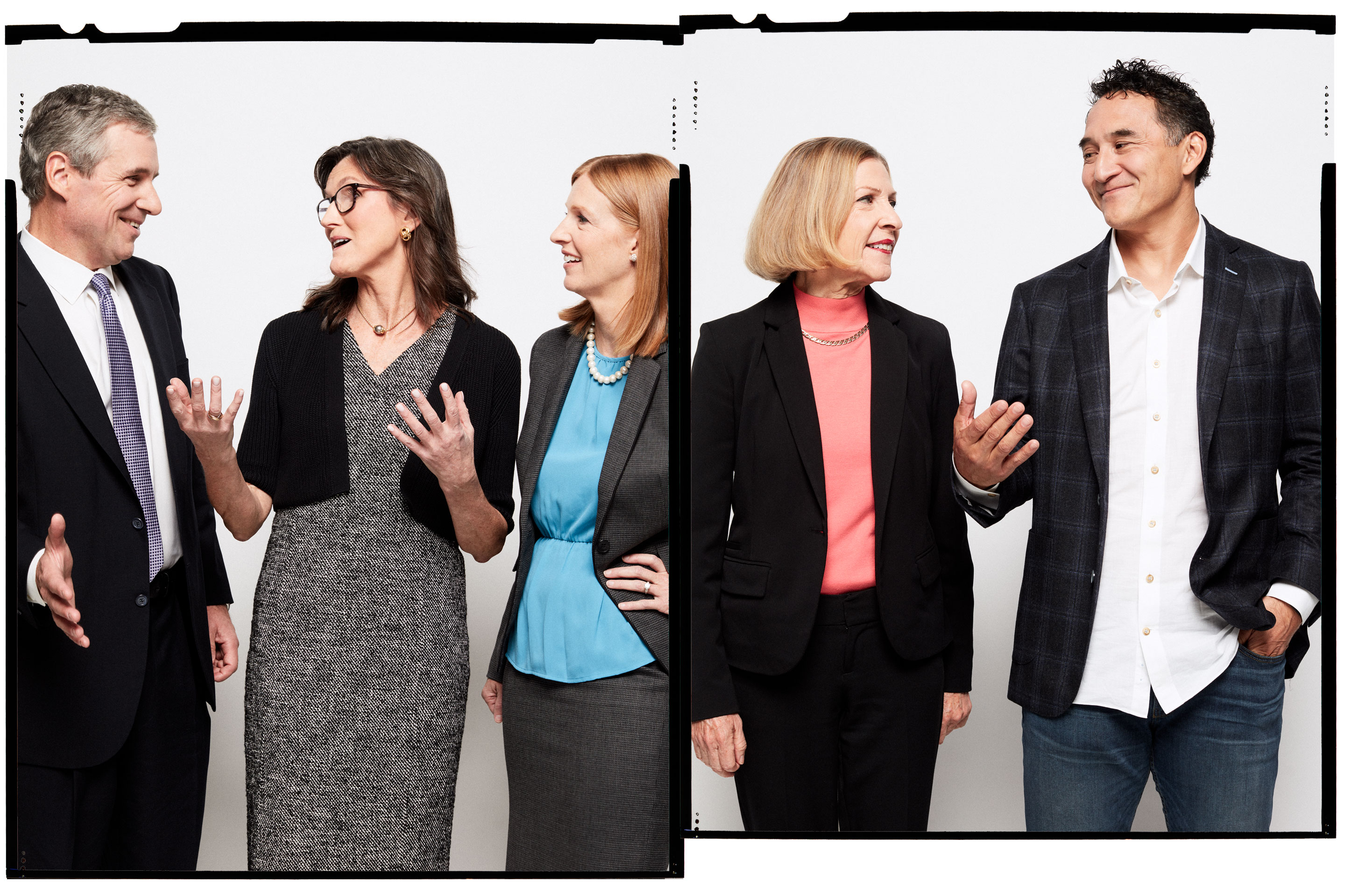 From, left: John Linehan, Chief Investment Officer, Equity, T. Rowe Price; Catherine Wood, CEO, ARK Invest; Lori Keith, Portfolio Manager and Senior Research Analyst, Parnassus Investments; Kate Warne, Principal and Investment Strategist, Edward Jones; Ed Sim, Founder and Managing Partner, Boldstart Ventures
