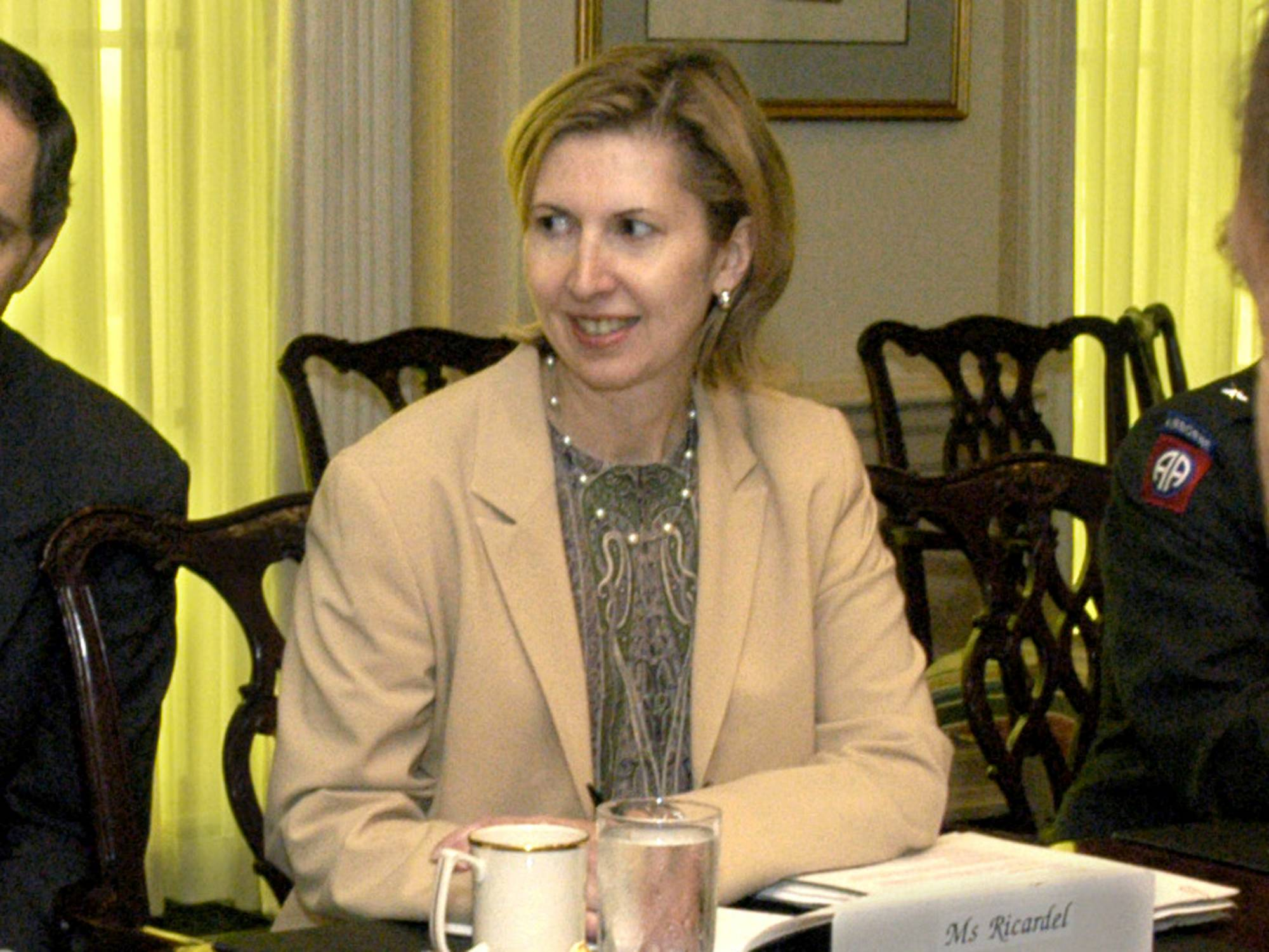 Deputy Assistant Secretary of Defense for Eurasian Policy, Mira Ricardel takes part in a meeting at the Pentagon in Washington