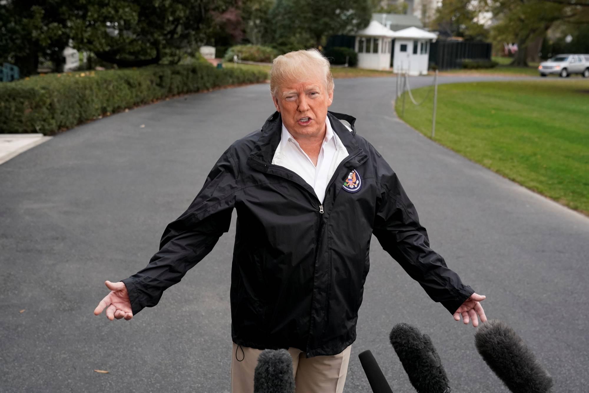 President Donald Trump departs to California