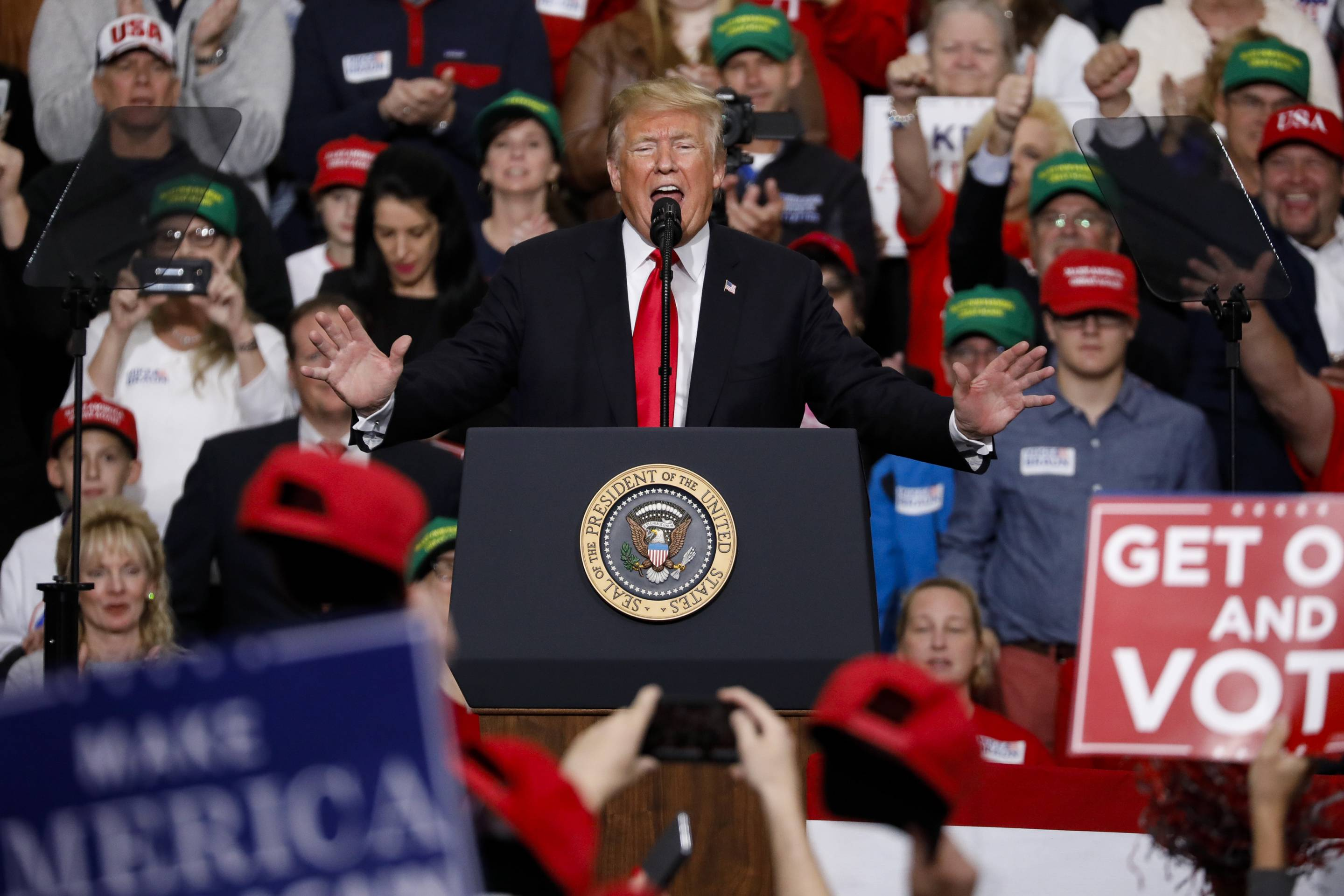 President Trump Holds Rally In Indianapolis Ahead Of The Midterm Elections