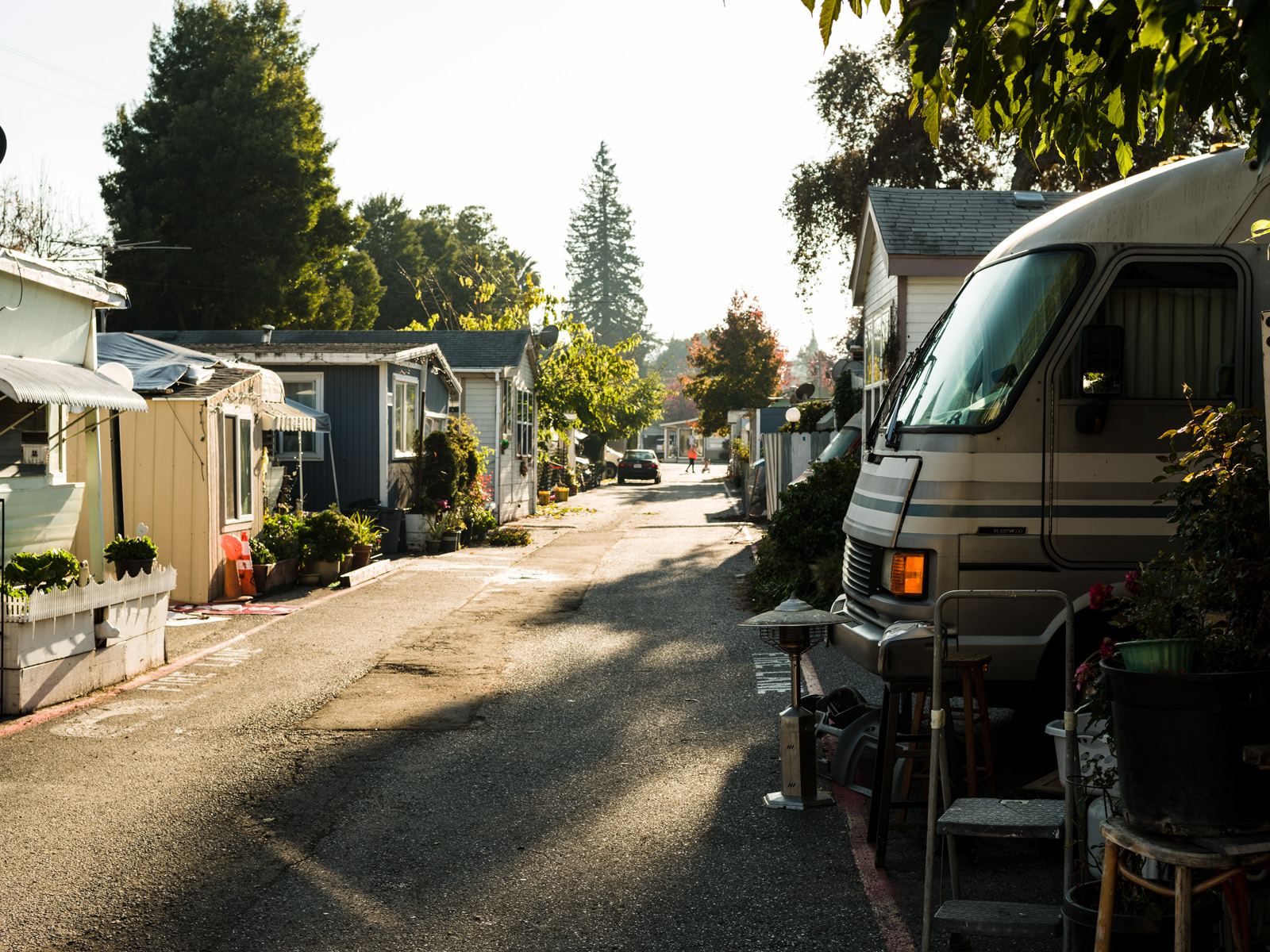 Trailers in the Buena Vista Mobile Home Park. The park offers one of the only affordable housing options in Palo Alto, where the median home price is $3.2 million