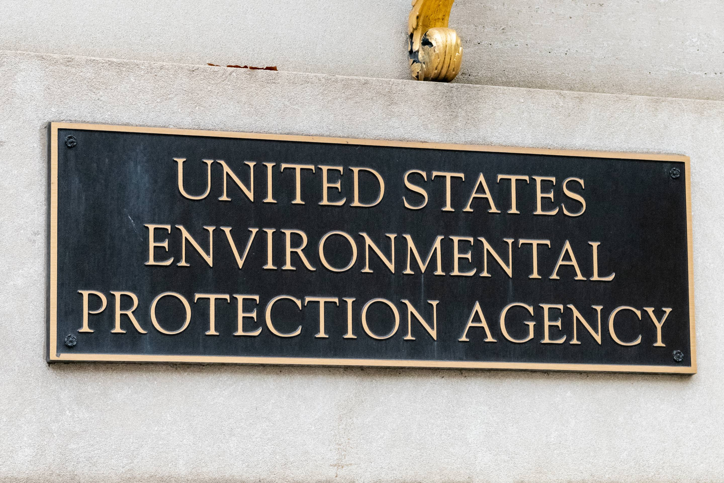 The Environmental Protection Agency sign in Washington, D.C