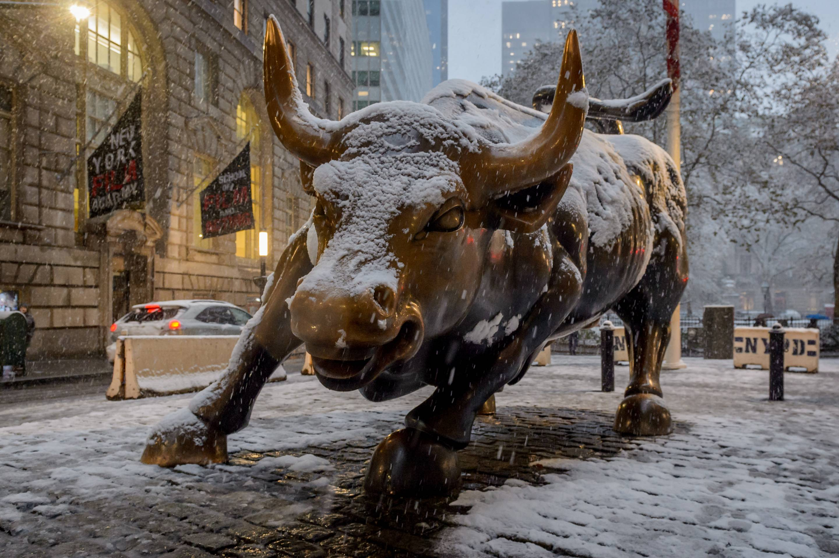 Wall Street Bull statue covered in snow as New York City was