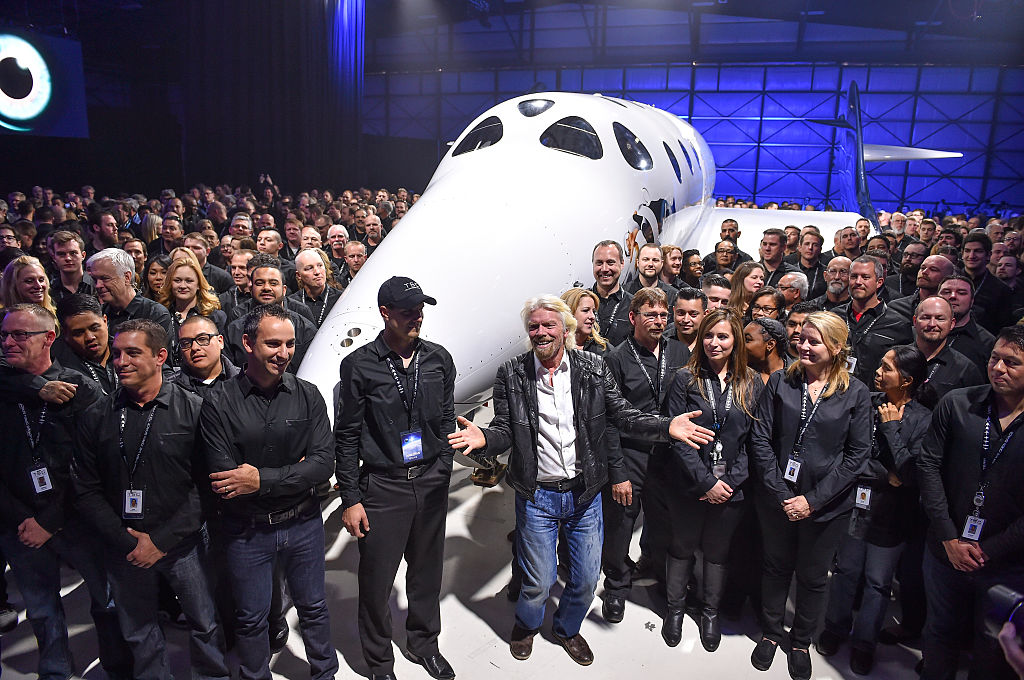 MOJAVE, CA - FEBRUARY 19: Virgin Galactic's Richard Branson, fr