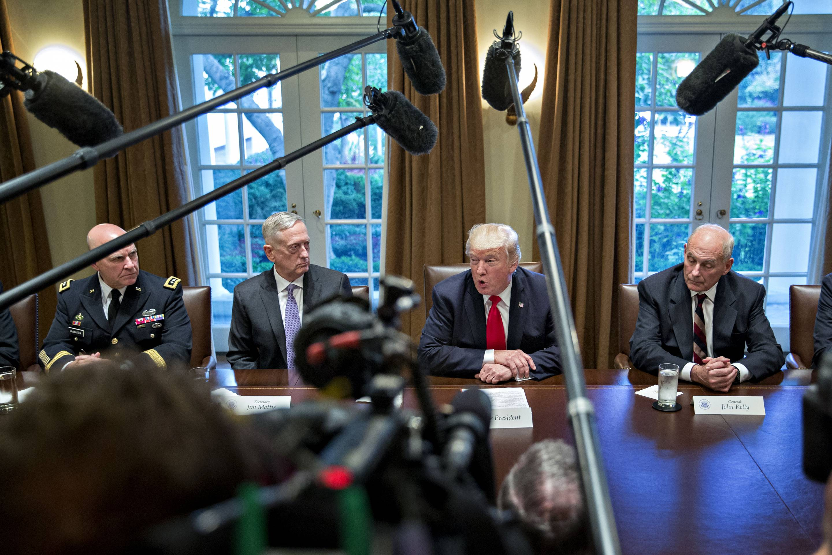 President Trump Participates In Briefing With Senior Military Leaders