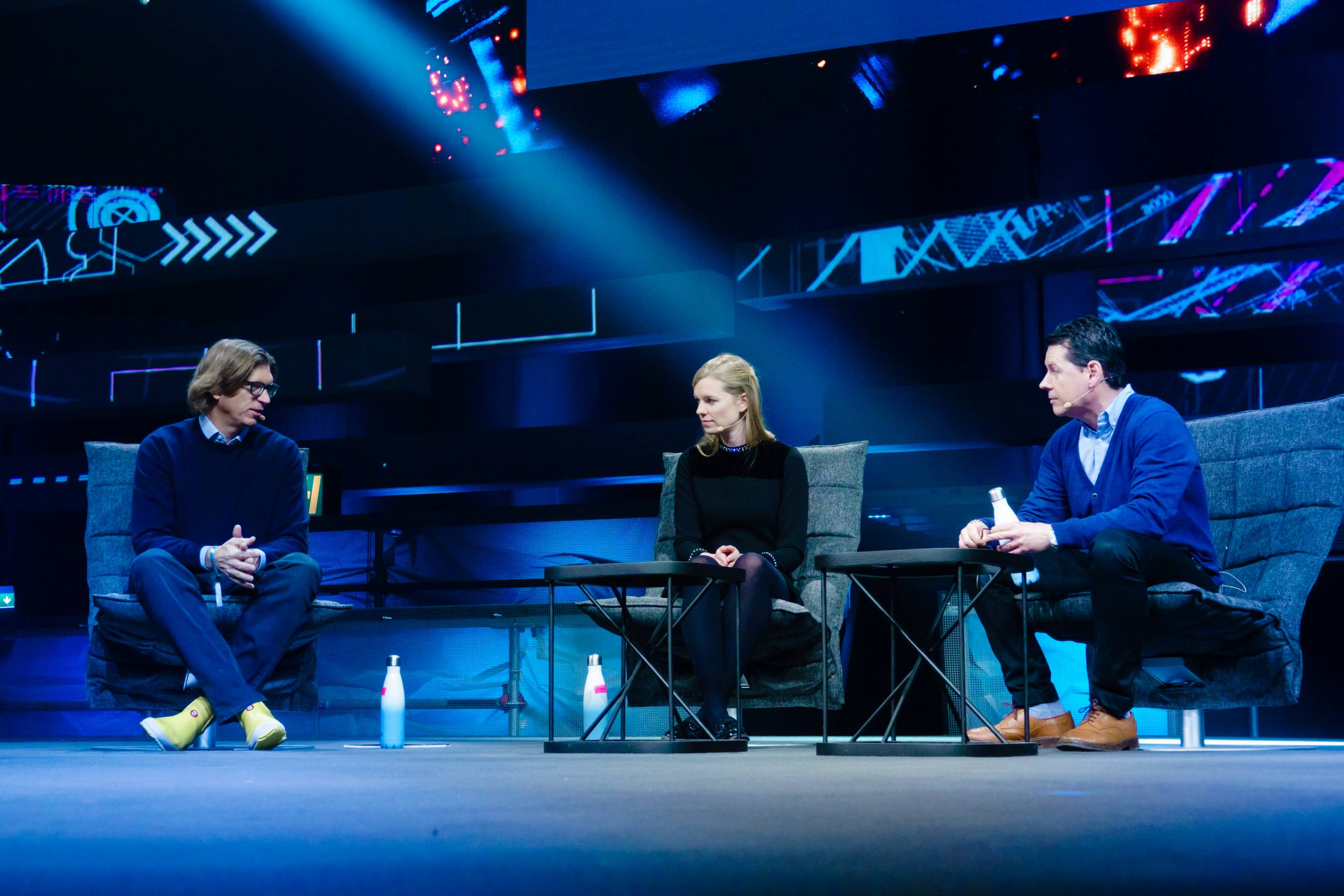 Atomico's Niklas Zennström (left) and Diversity VC's Check Warner (center) discuss the issue of diversity in the European tech industry on stage at the Slush conference in Helsinki, along with Greg Williams (right), editor-in-chief of Wired UK.