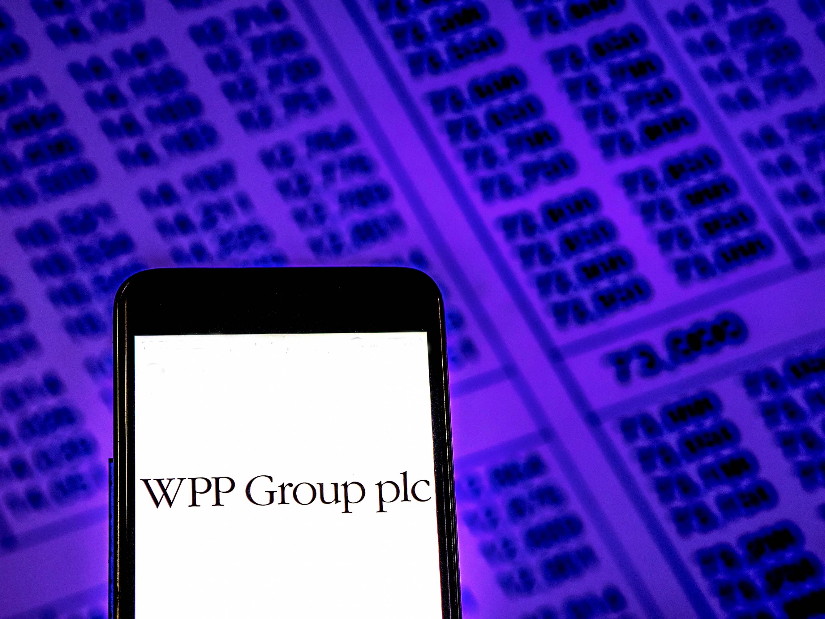 WPP Group plc Public relations company logo seen displayed