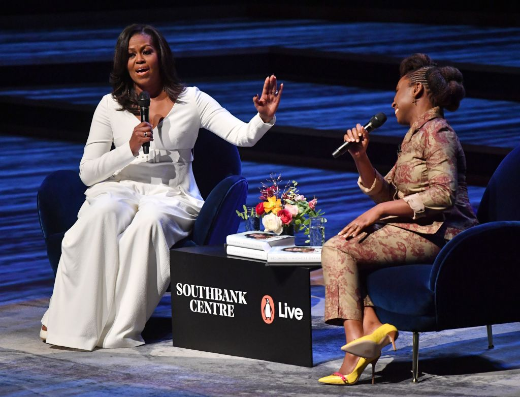 Michelle Obama speaks with Nigerian novelist Chimamanda Ngozi Adichie during a London stop on her massive 'Becoming' book tour.