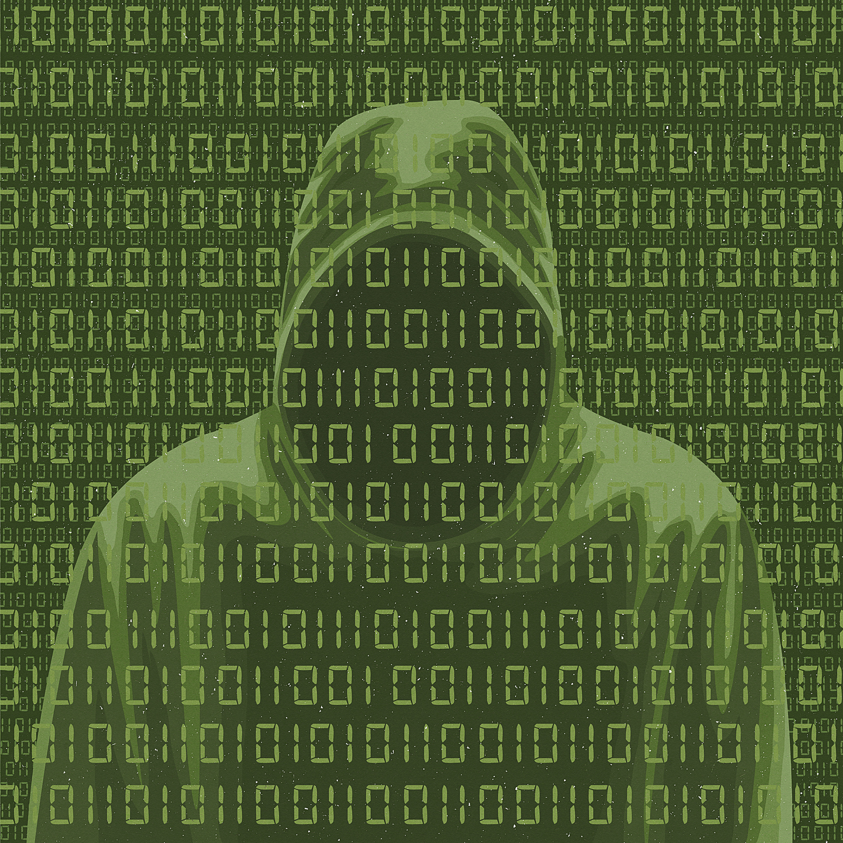 Faceless man in hoodie and computer binary code