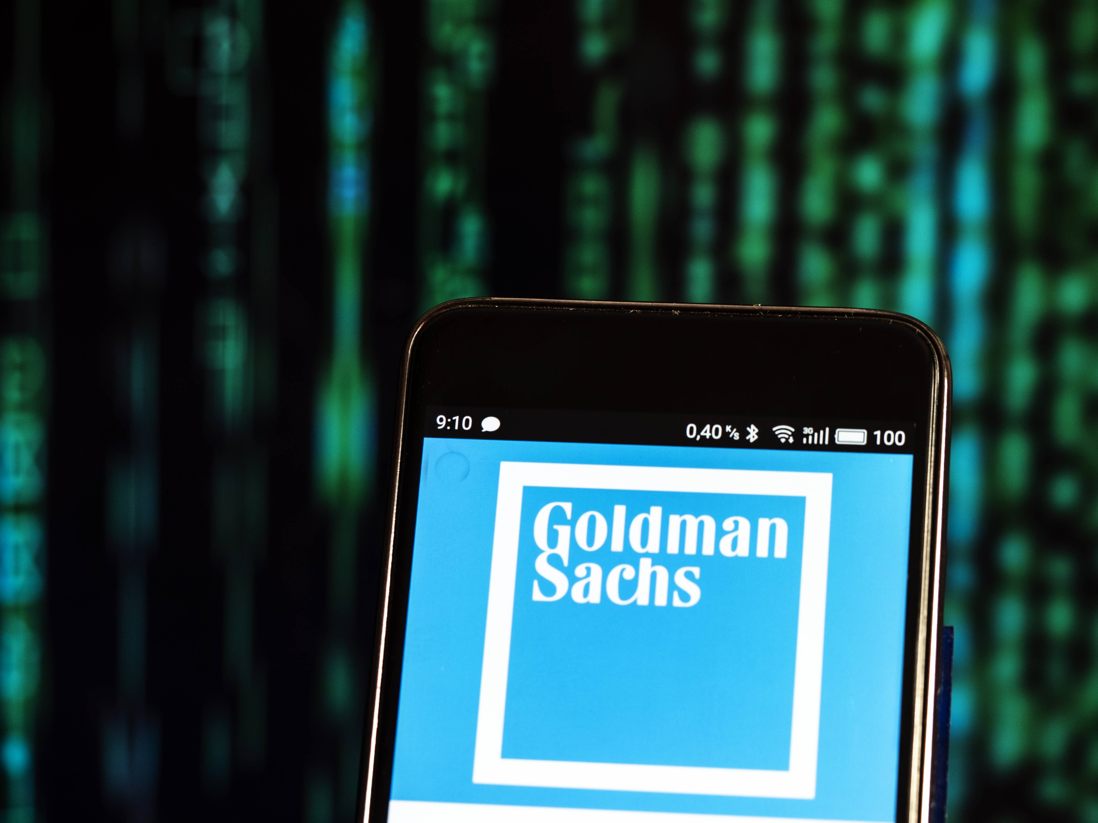 Goldman Sachs logo seen displayed on a smart phone