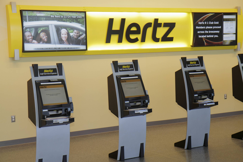 Hertz Car Rental Self Service Express kiosk.