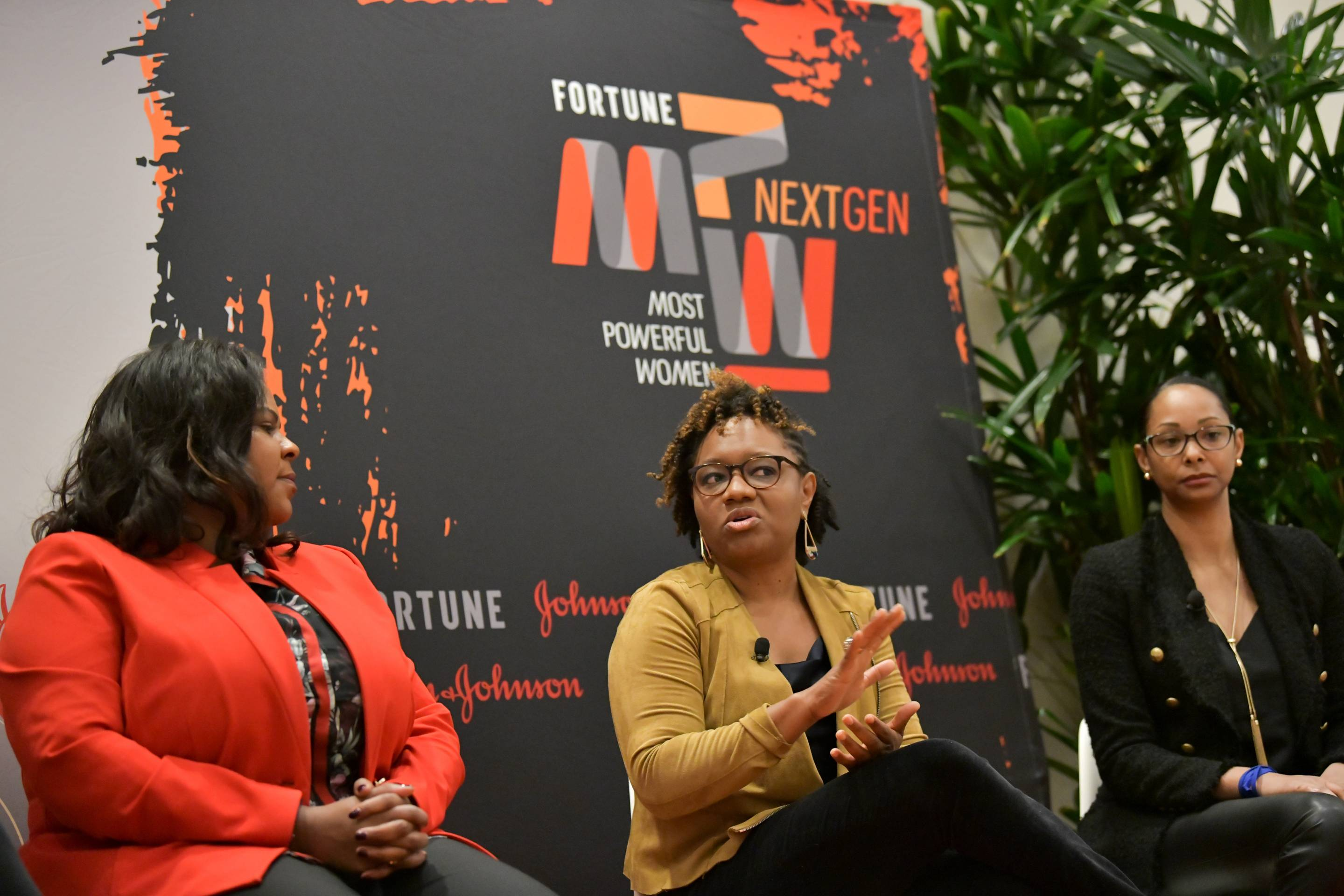 Molly Ford of Salesforce, Rashida Hodge of IBM, and Bärí Williams of All Turtles discuss how to create diverse and inclusive workplaces at Fortune's MPW Next Gen Summit in Laguna Niguel, Calif.