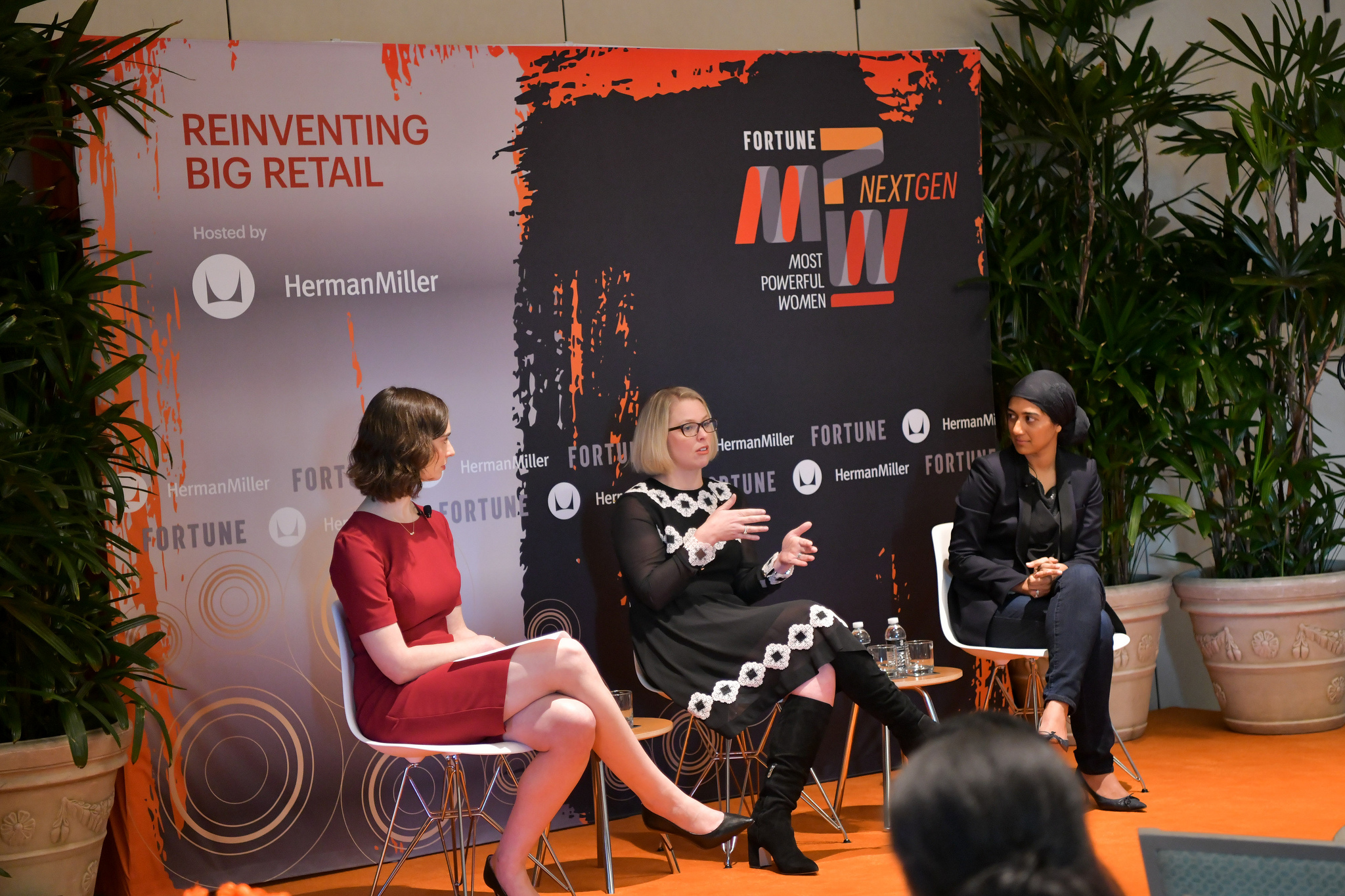 Senior writer Beth Kowitt (left) speaks with Krystal Zell, Vice President, Customer, Home Depot (middle) and Sumaiya Balbale, Vice President, E-commerce, Mobile and Digital Marketing, Walmart U.S. (right) at Fortune's MPW Next Gen Summit in Laguna Niguel, Calif.