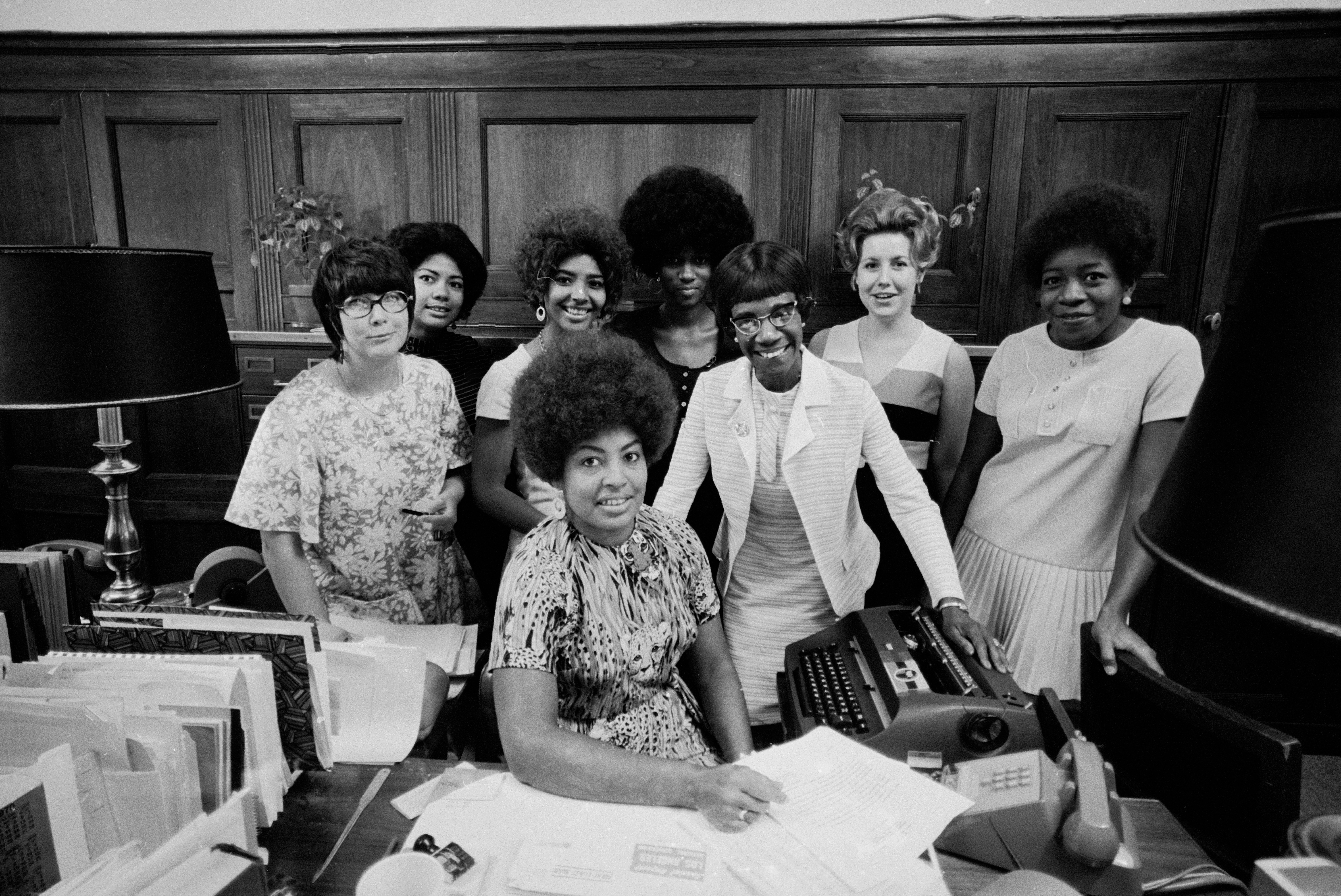 Congresswoman Shirley Chisholm (C, w. glasses) and her staff, 1970