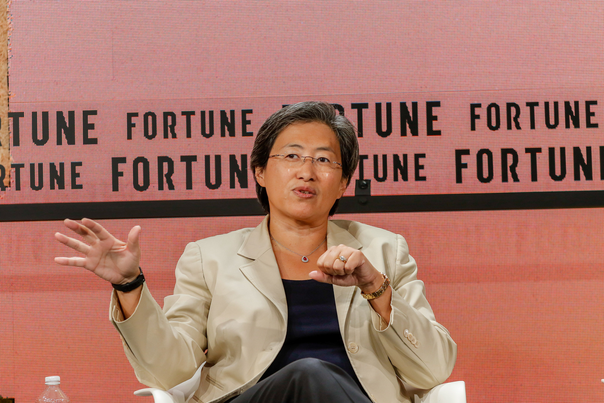 AMD CEO Lisa Su speaking at the 2018 Fortune Brainstorm Tech conference in Aspen.
