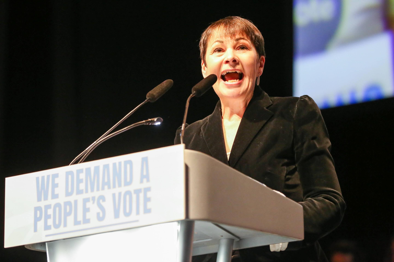 Caroline Lucas MP for Brighton Pavilion is seen speaking