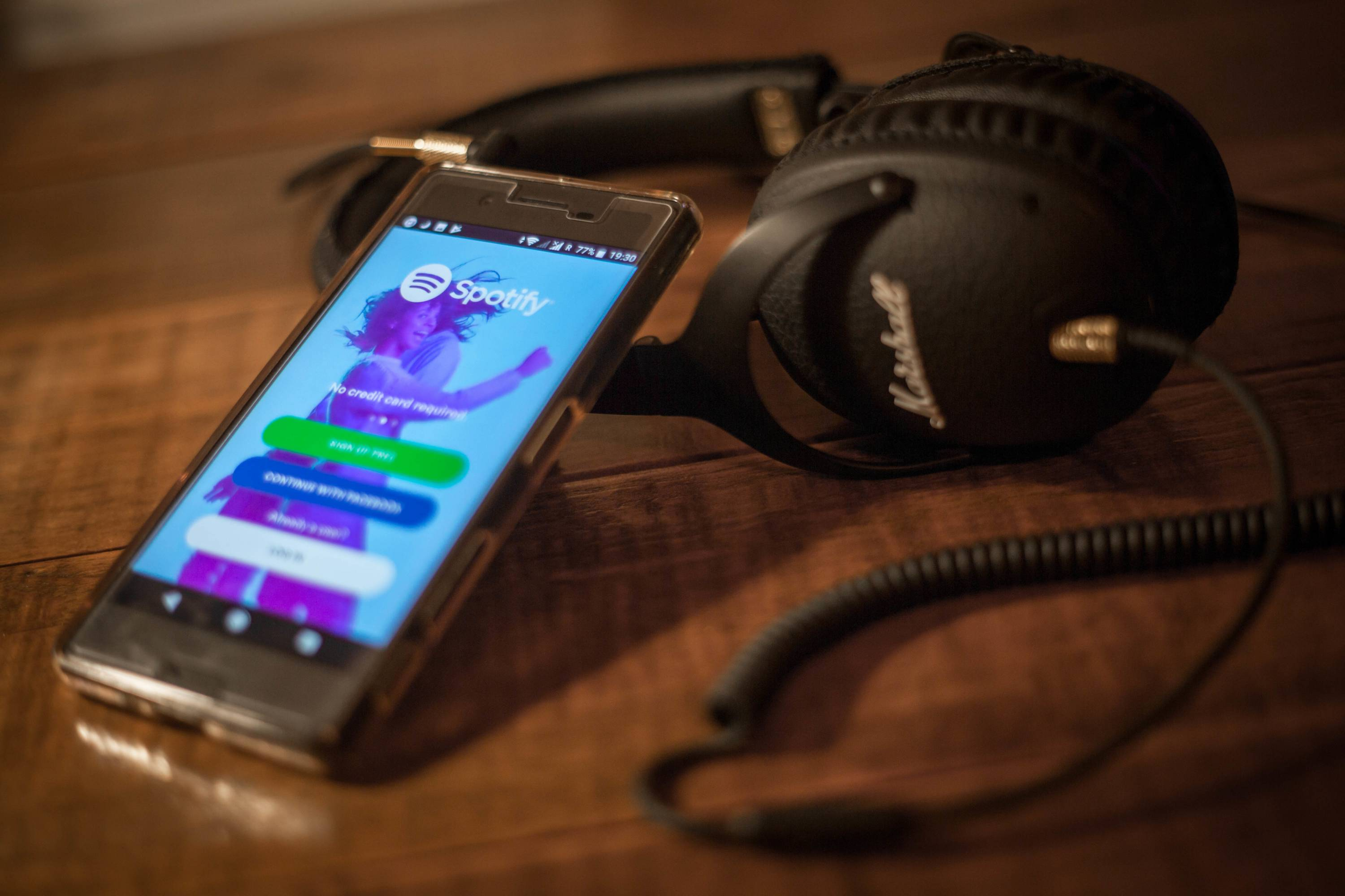 The Spotify application seen displayed on a Sony smartphone