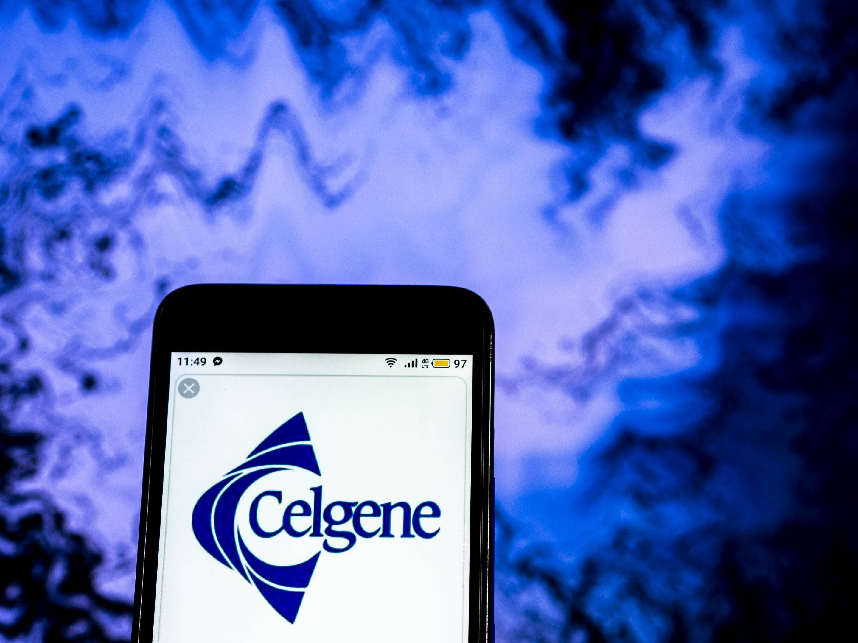 Celgene Biotechnology company  logo seen displayed on a