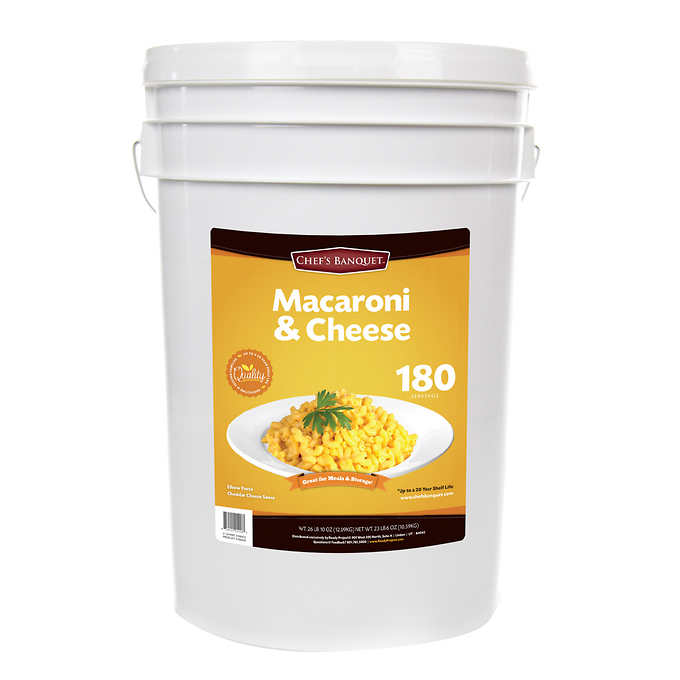 Costco's Chef's Banquet Macaroni & Cheese Storage Bucket, a 27-pound bucket of macaroni and cheese with 20 years of shelf life.