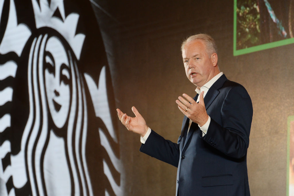 Starbucks And Alibaba Strategic Partnership Press Conference In Shanghai