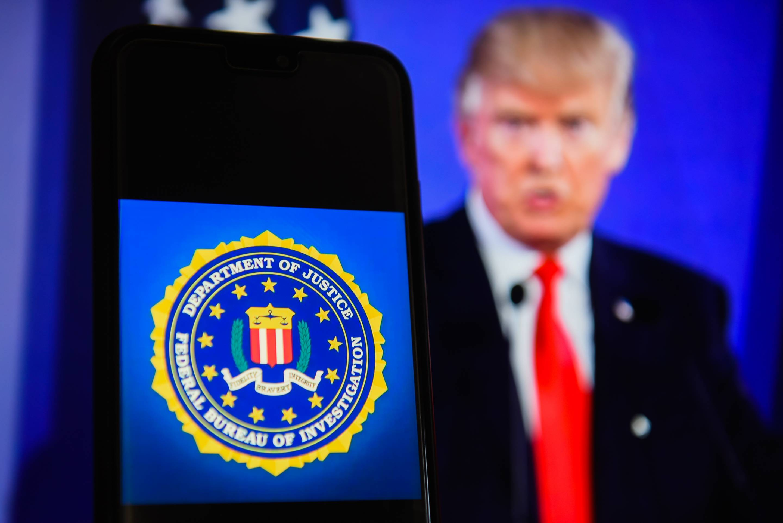 The Federal Bureau of Investigation (FBI) logo is seen on an
