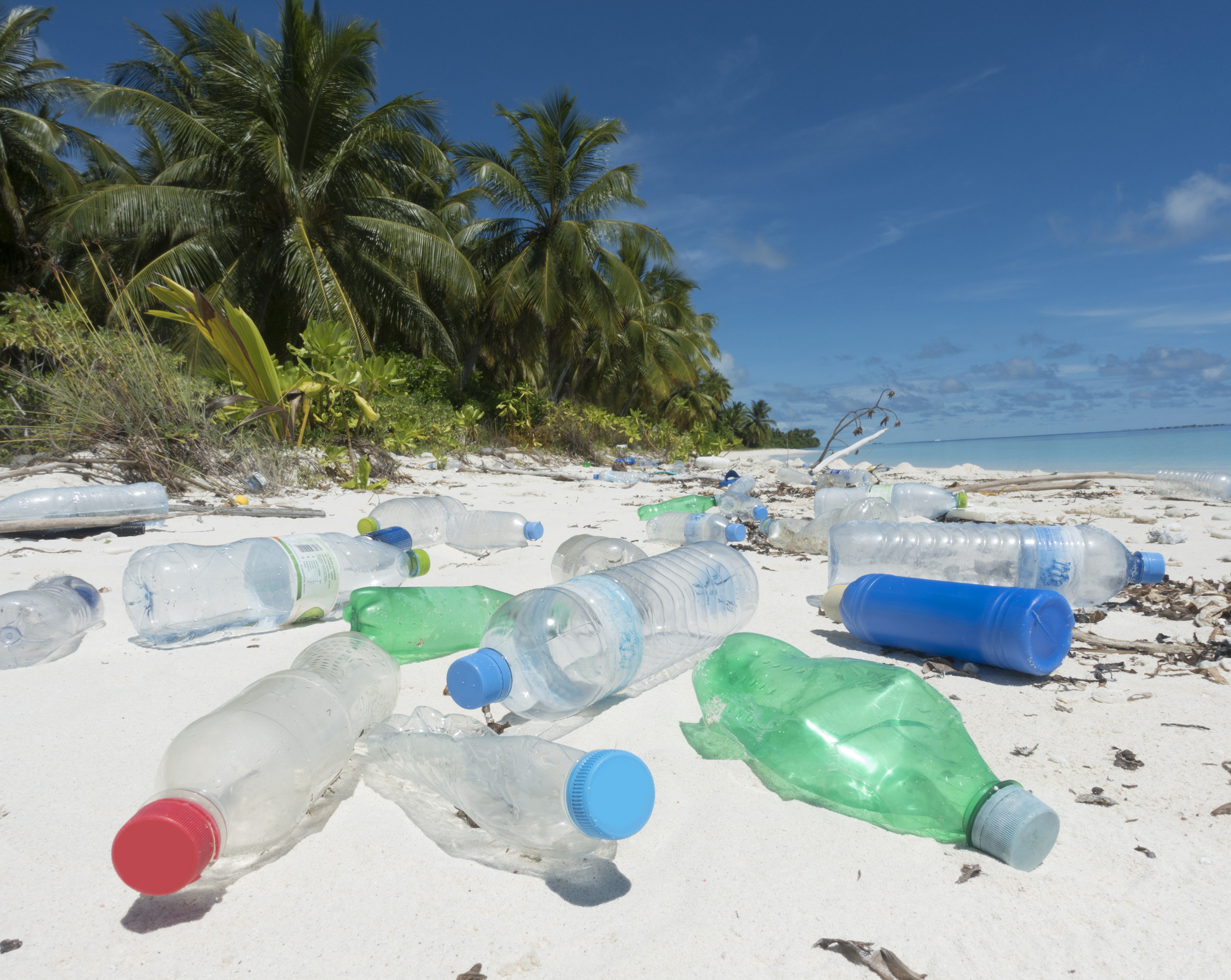 Plastic washed up on tropical island